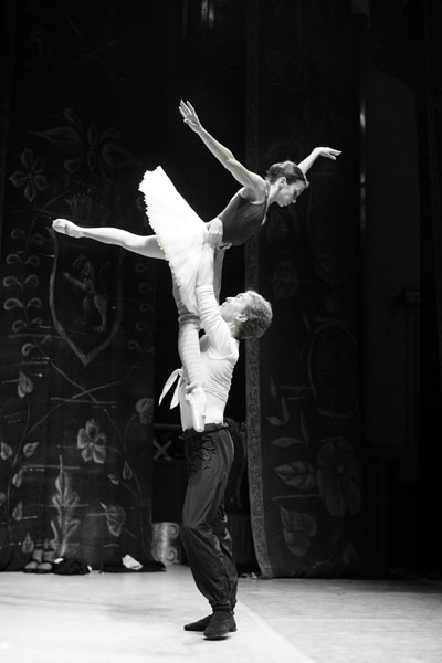 Two dancers from the Russian State Ballet of Siberia rehearsing