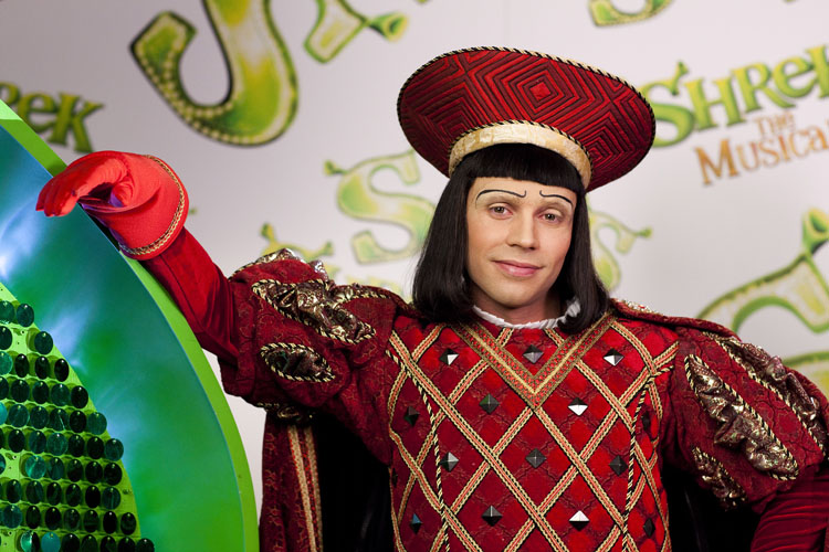 Actor Neil McDermott in the role of Lord Farquaad.