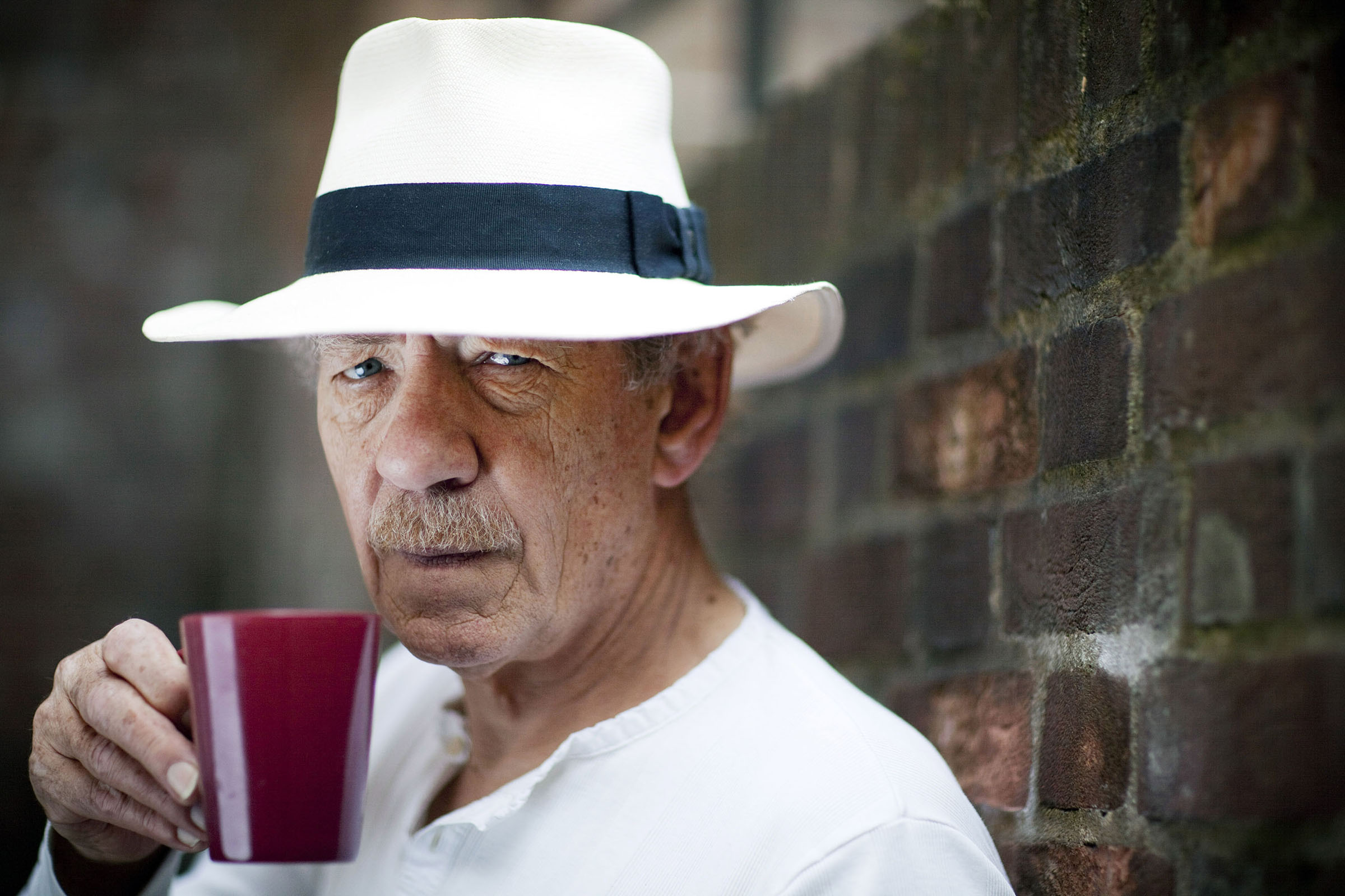 Portrait of Sir Ian McKellen during rehearsals for The Syndicate