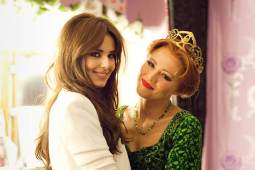 Cheryl Cole and Kimberley Walsh backstage at Shrek the Musical