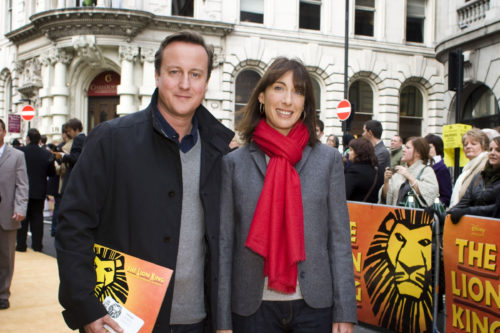 David Cameron and Wife Samantha Cameron attend the 10th Anniversary showing of The Lion King at the Lyceum Theatre in London