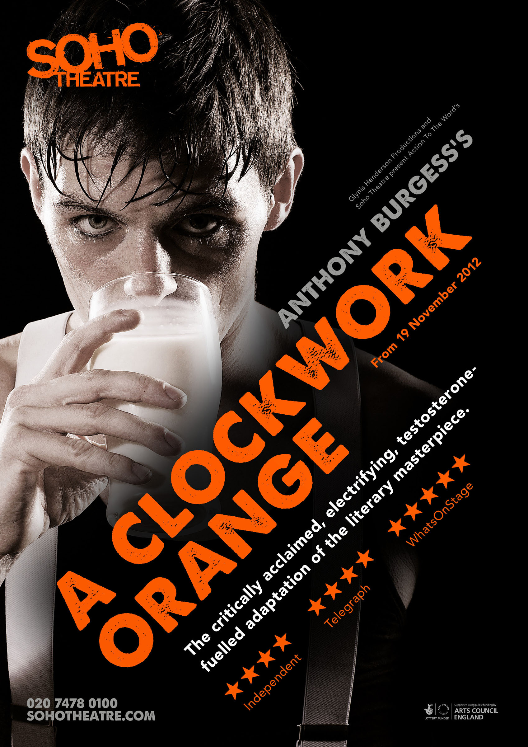 Promotional poster for A Clockwork Orange at the Soho Theatre