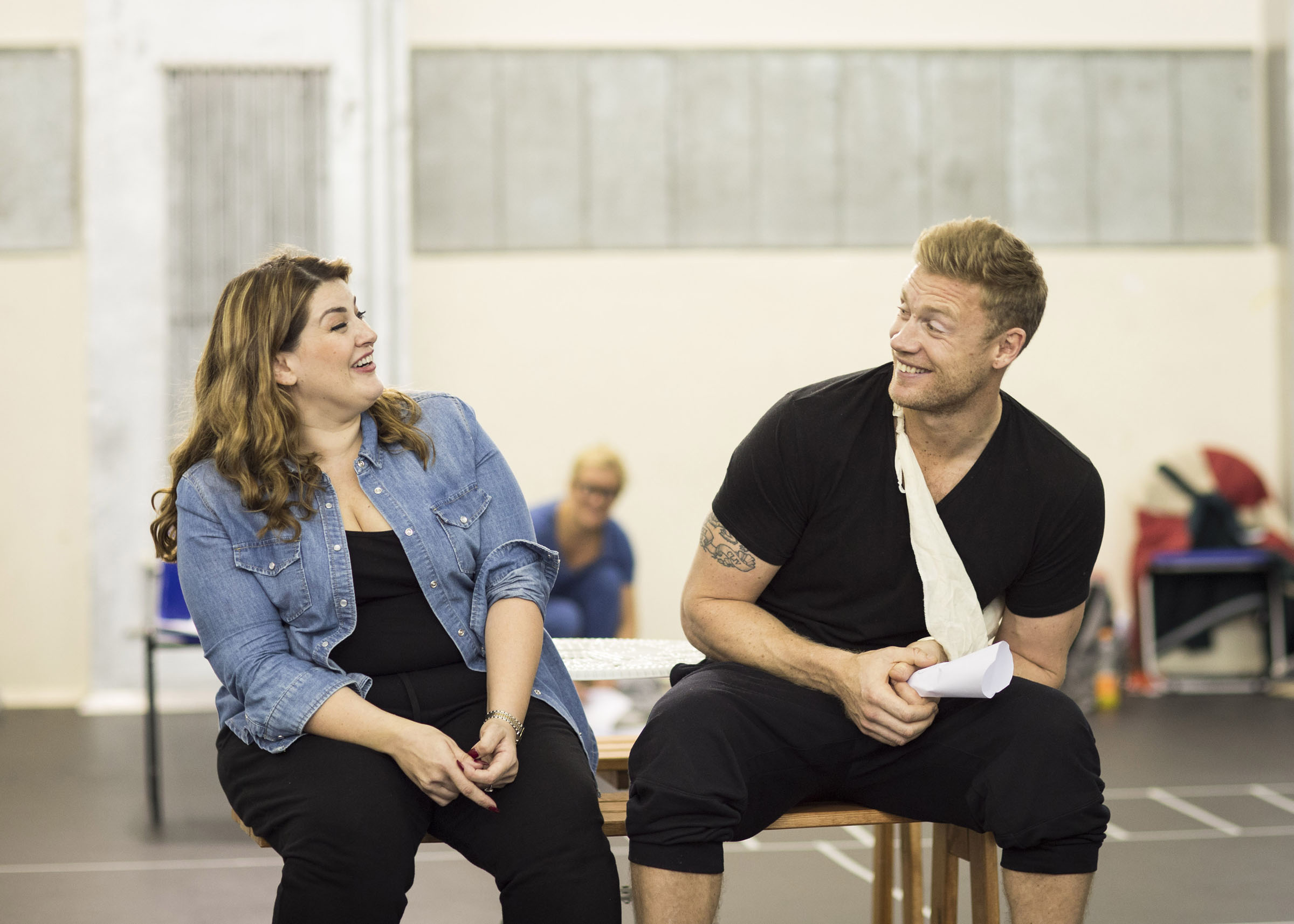 Jodie Prenger and Freddie Flintoff rehearsing for Fat Friends The Musical