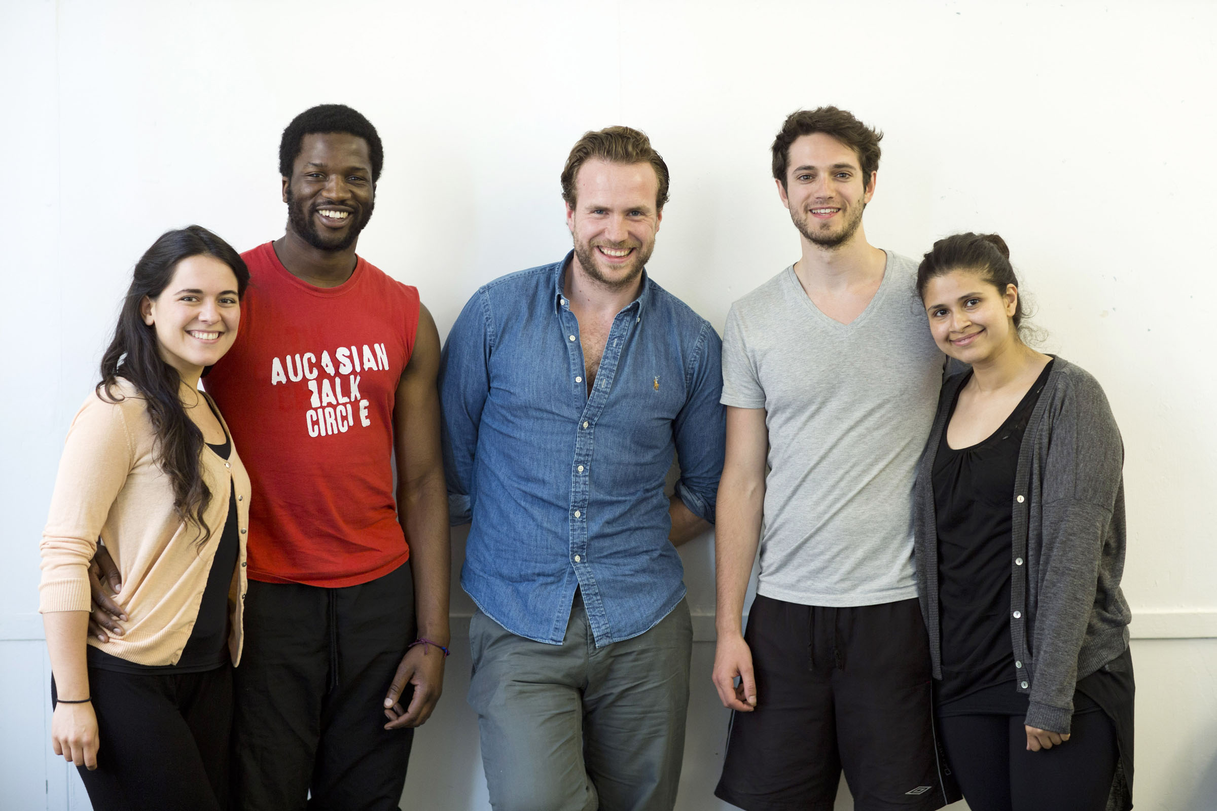 Rafe Spall with actors from the National Youth Theatre