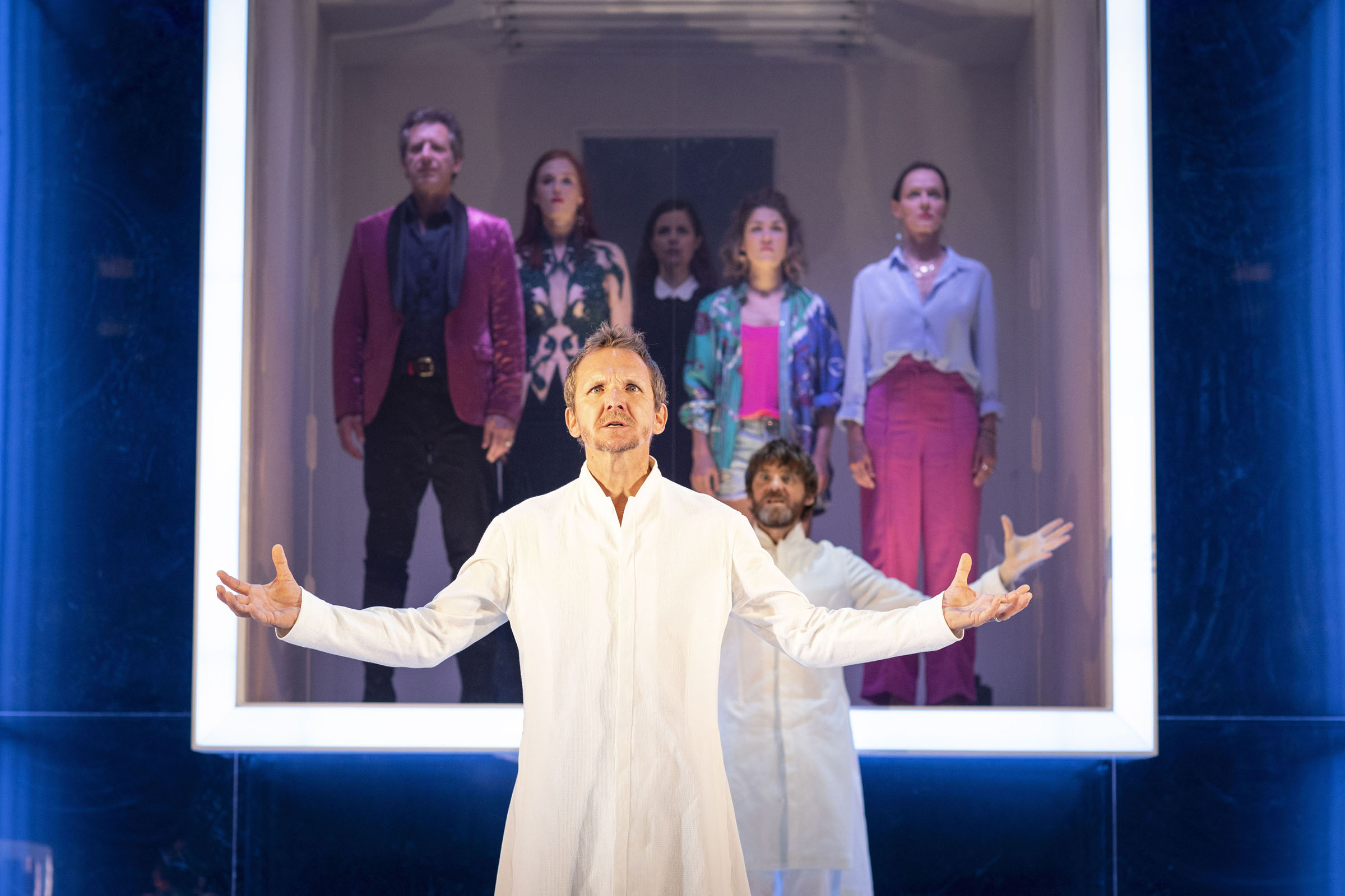 Sebastian Roche as Orgon, with the company of Tartuffe