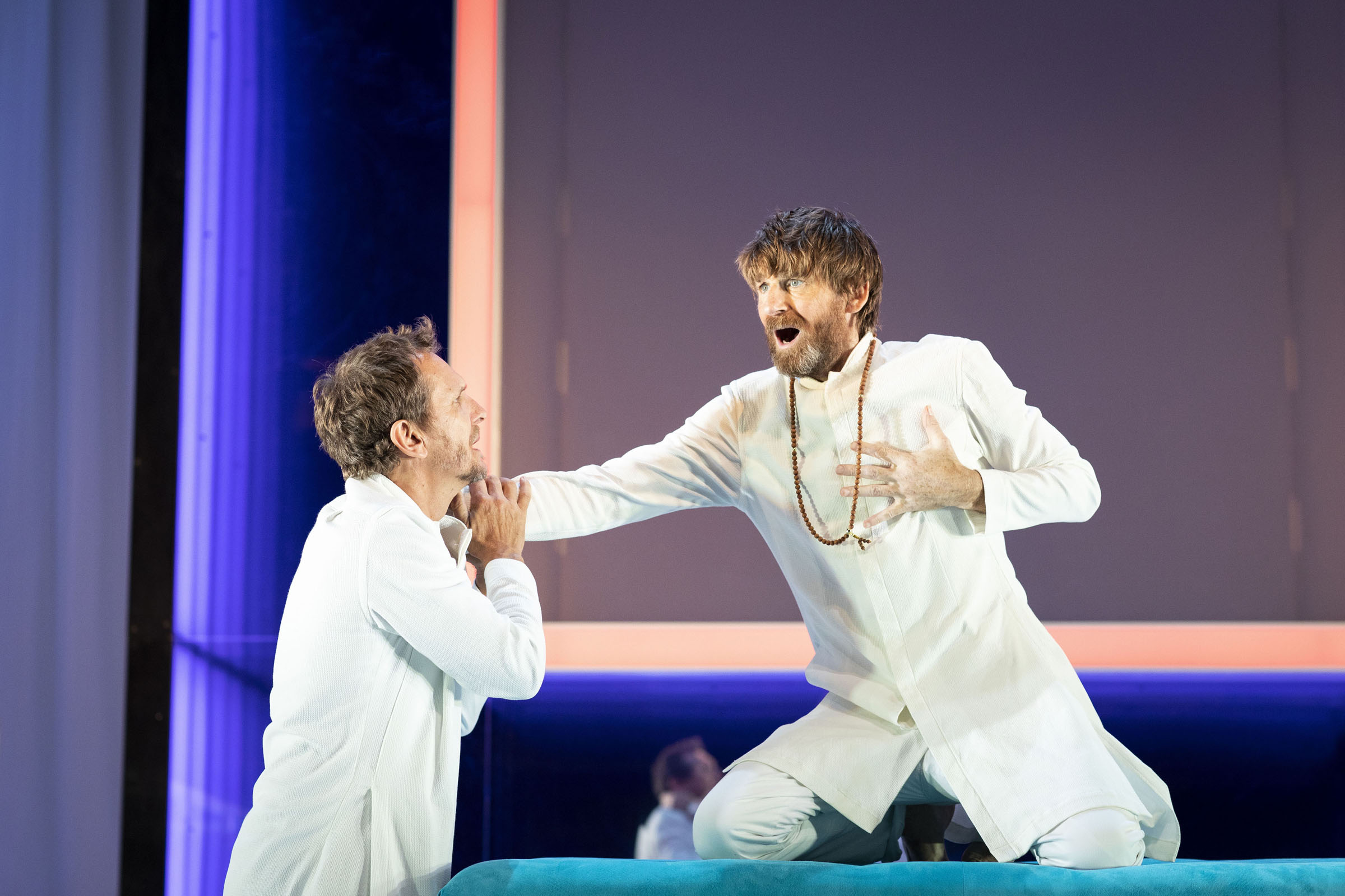 Sebastian Roche as Orgon, and Paul Anderson as Tartuffe, in Tartuffe