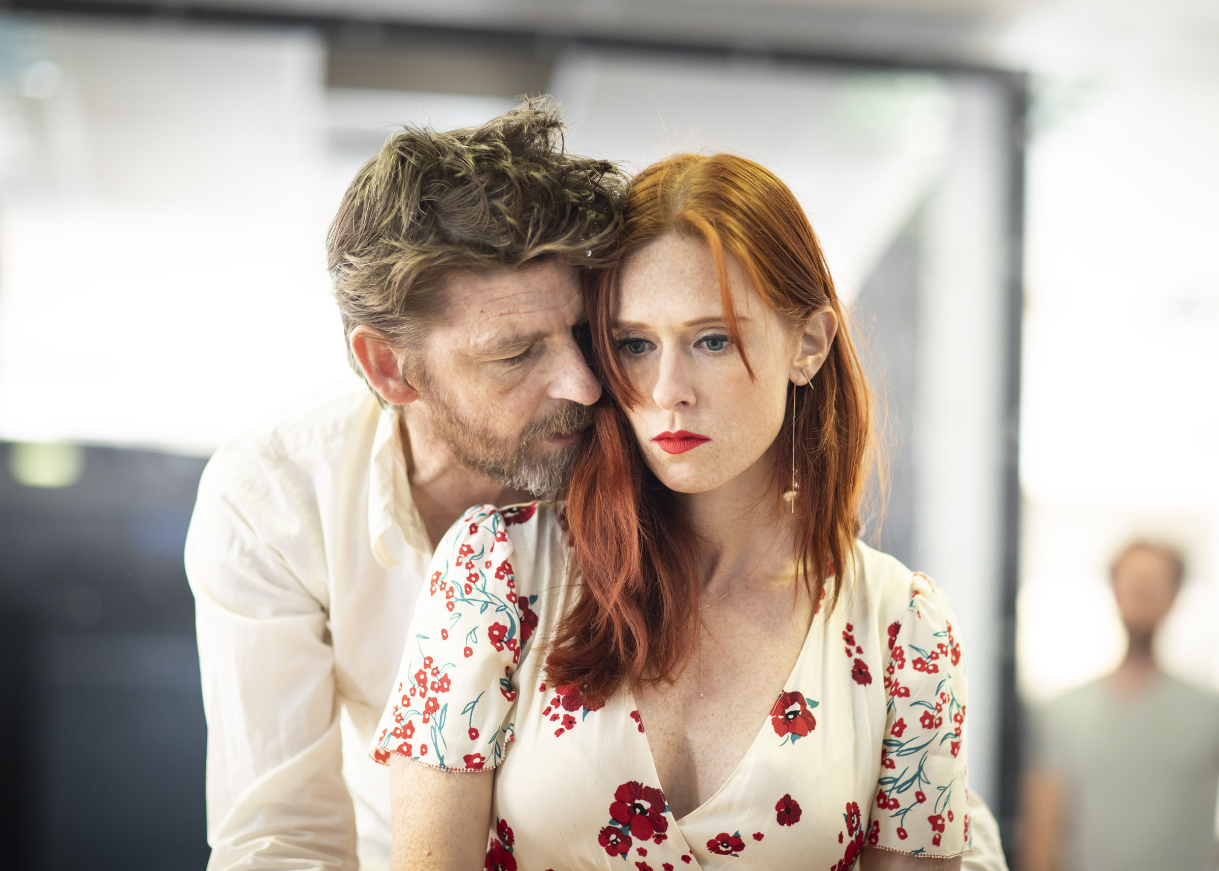 Paul Anderson and Audrey Fleurot rehearsing Tartuffe