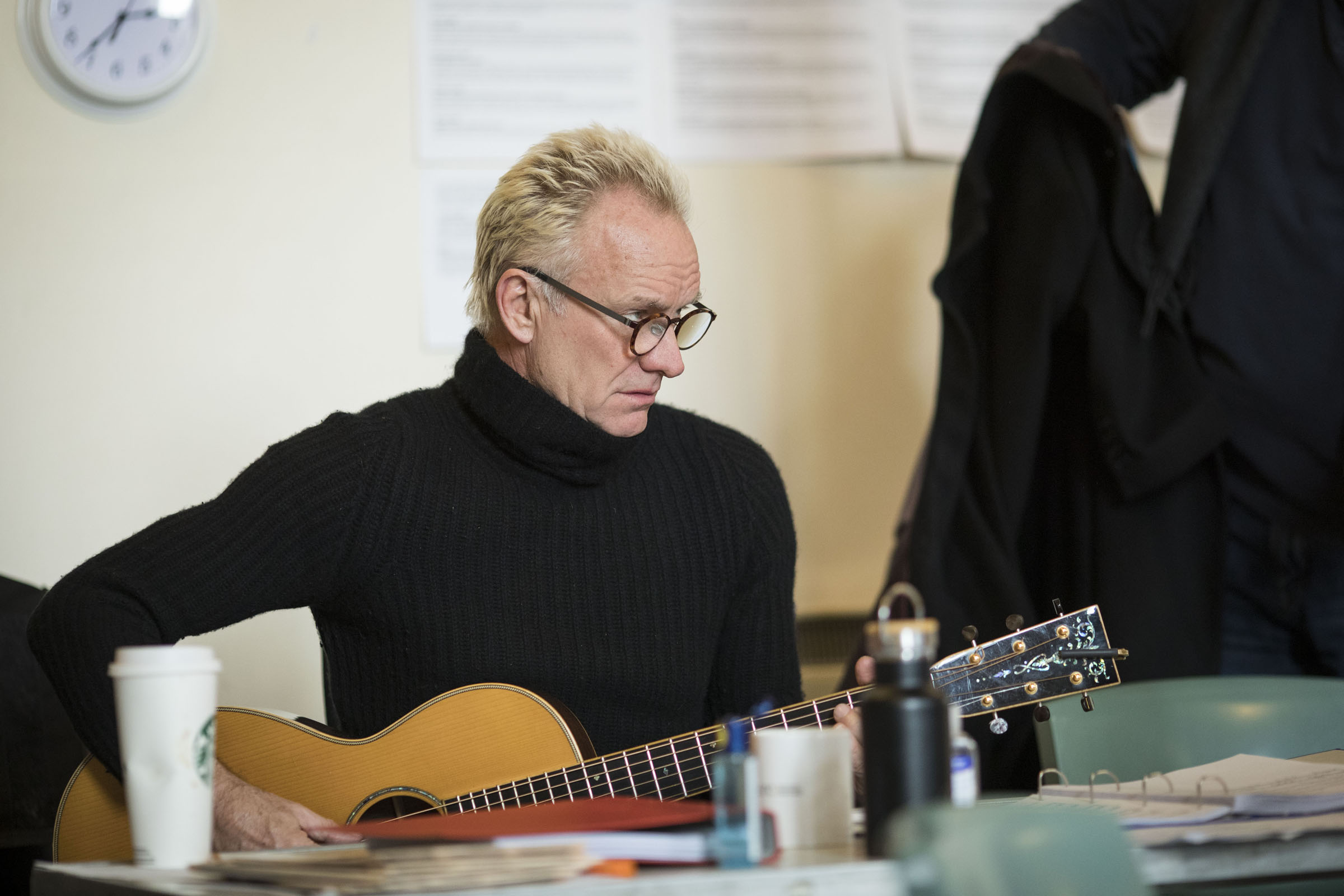 Sting plays his guitar during rehearsals for The Last Ship