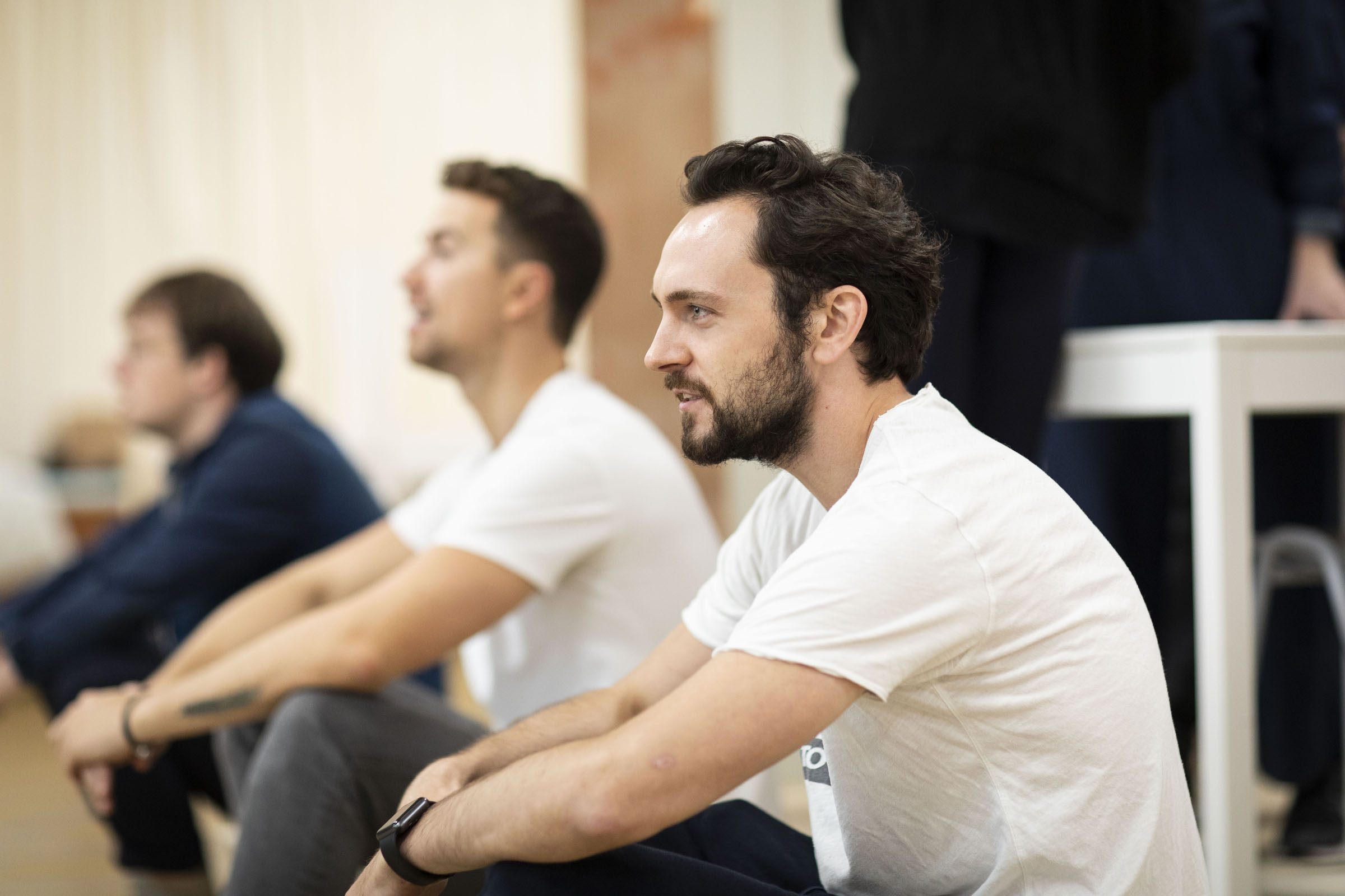 George Blagden, Richard Fleeshman and Matt Seadon-Young in 'Company' rehearsals