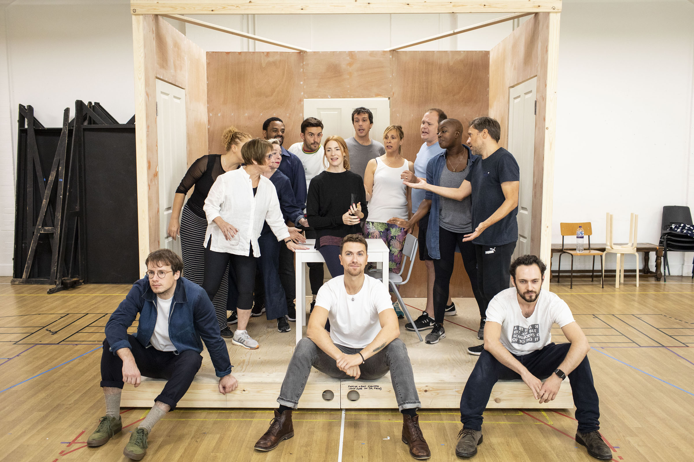 The cast of 'Company' during rehearsals