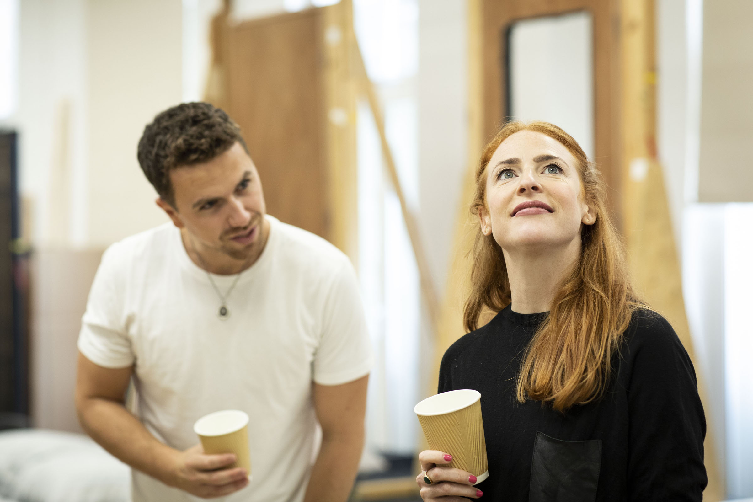 Richard Fleeshman (Andy) and Rosalie Craig (Bobbie) in rehearsals