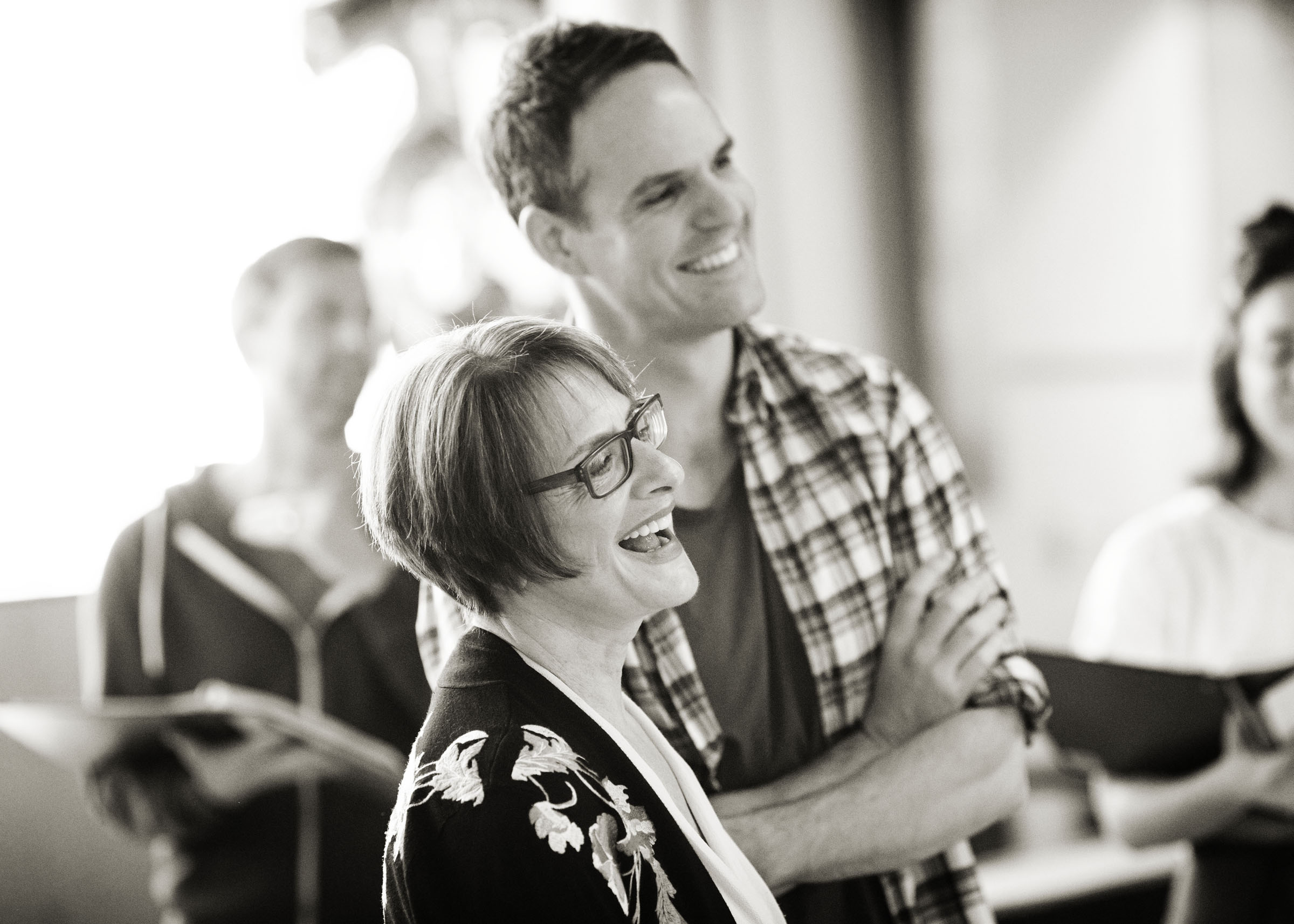 Ben Hewis and Patti LuPone sharing a laugh during rehearsals
