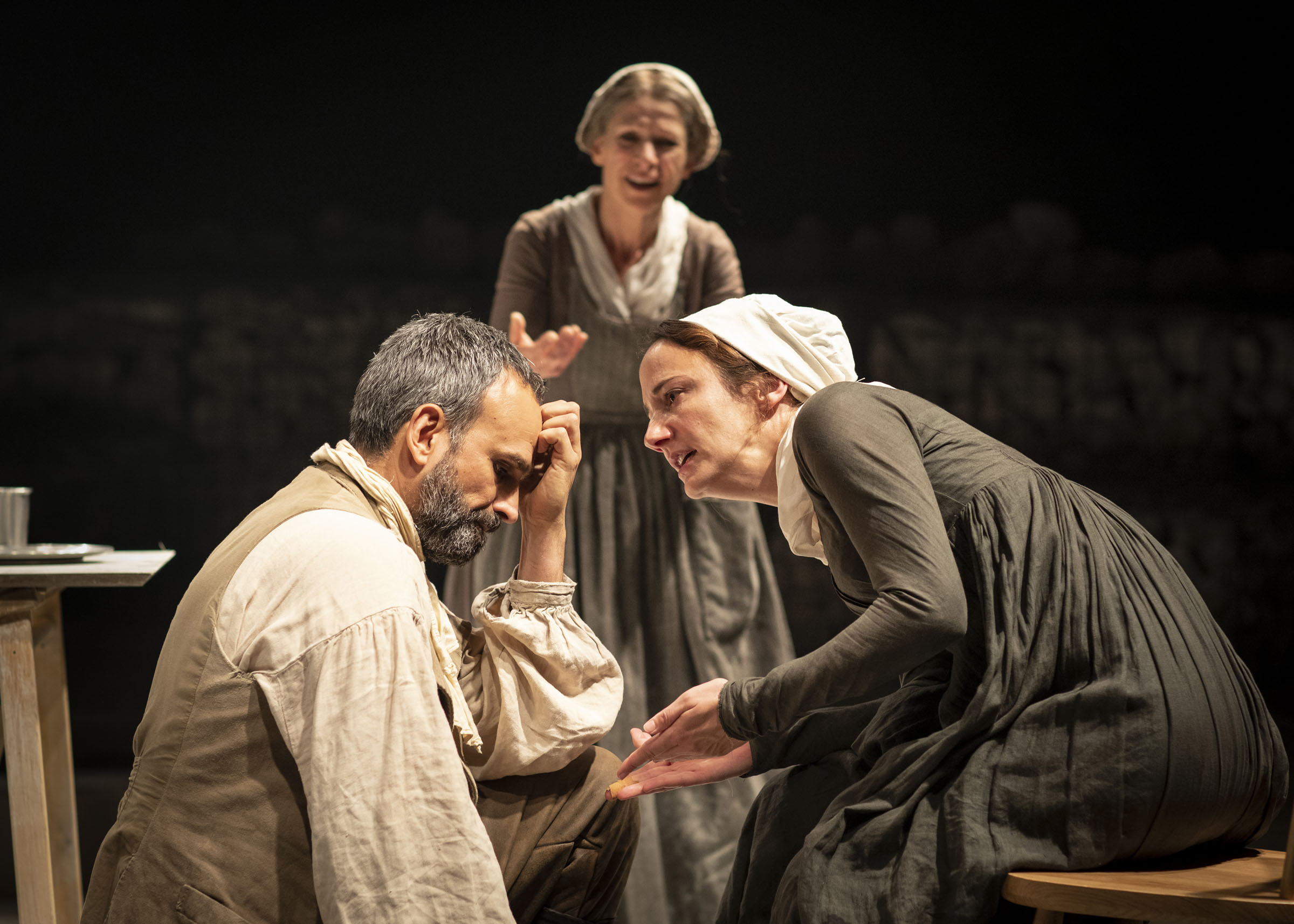 Gerald Kyd (Adam), Jean St Clair (Alice) and Lydia Leonard (Rachel) in 'The Meeting' at Chichester Festival Theatre