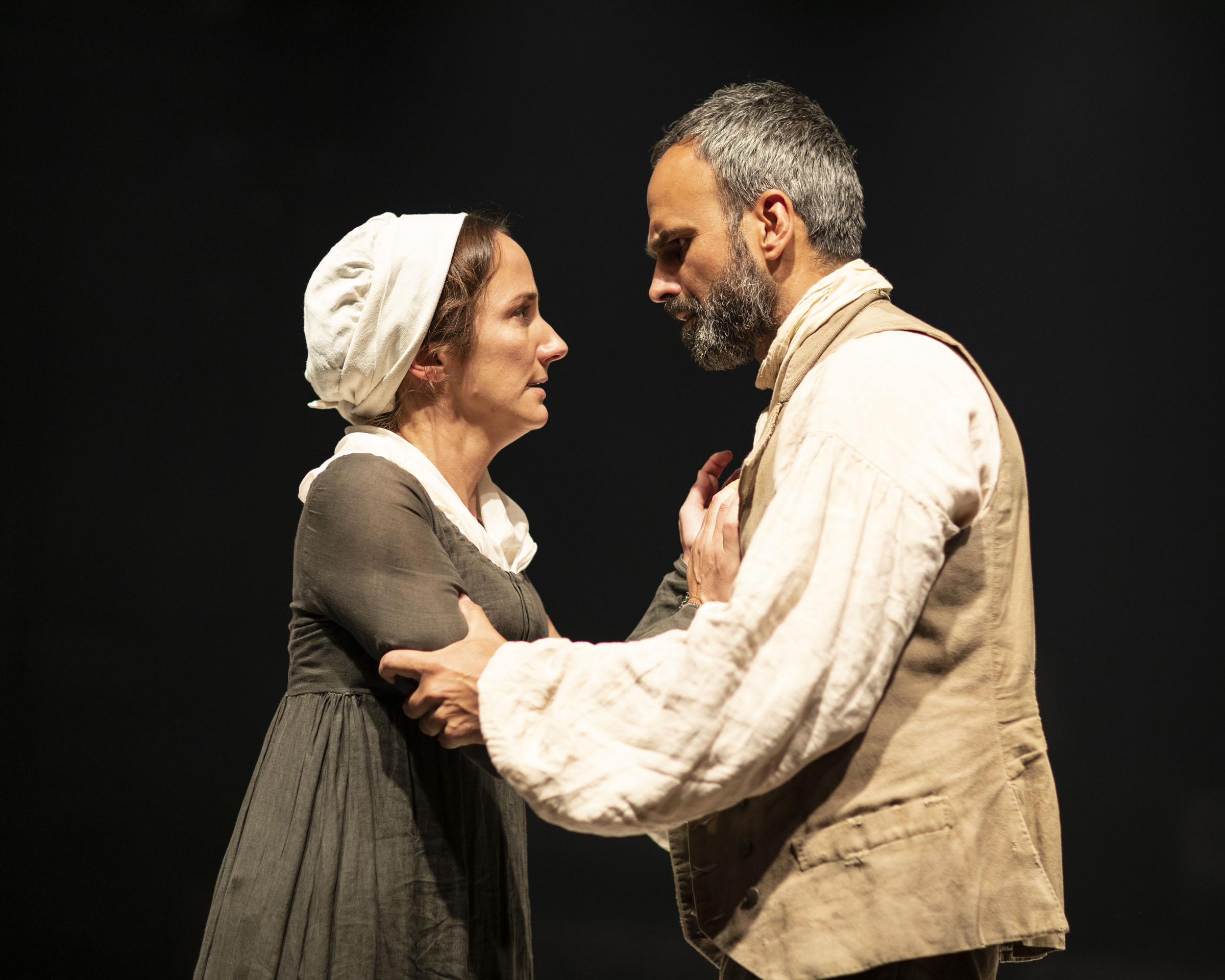 Lydia Leonard as Rachel with Gerald Kyd as Adam in 'The Meeting'