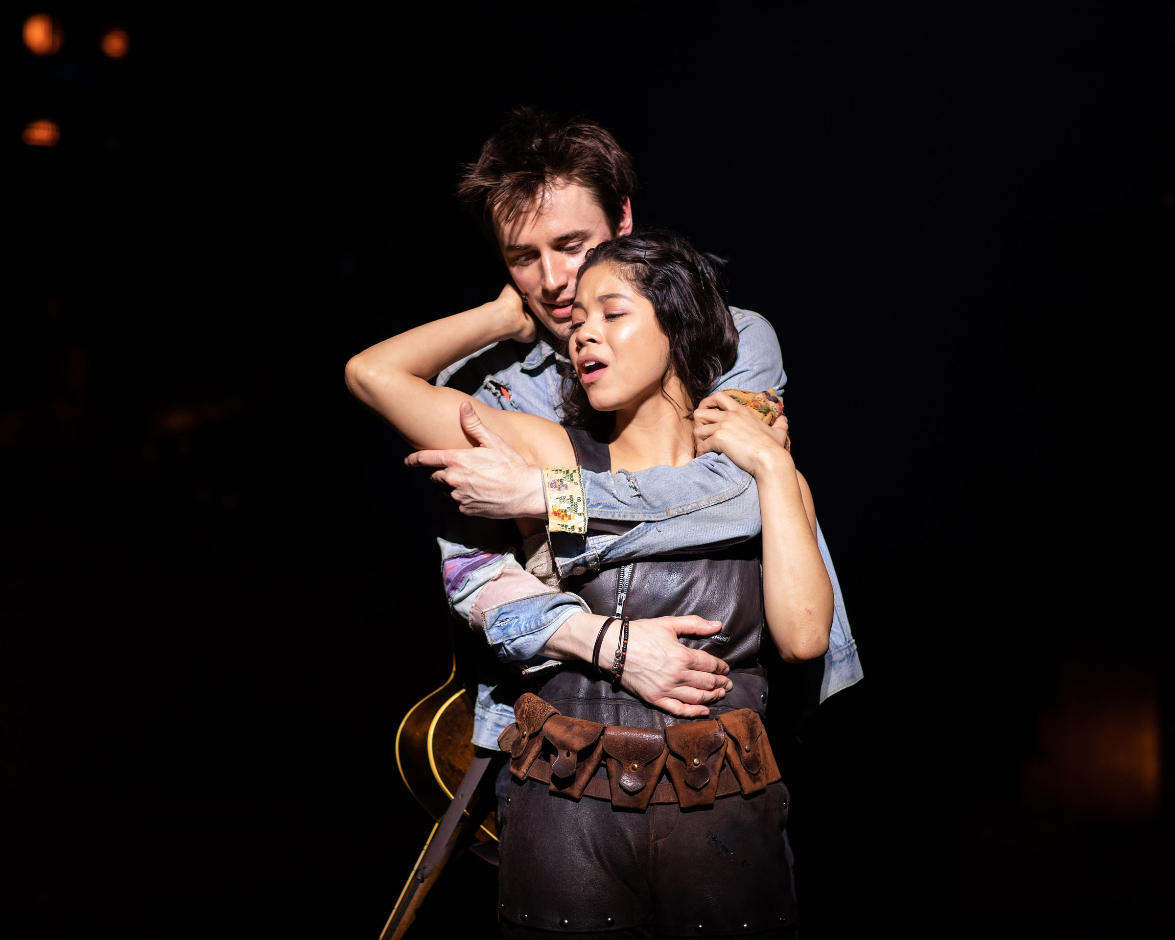 Reeve Carney (Orpheus) and Eva Noblezada (Eurydice) in Hadestown