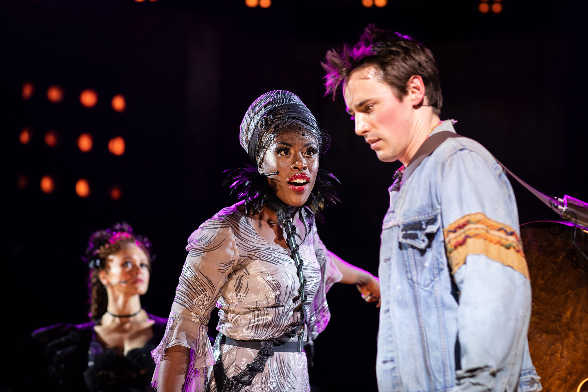 Amber Gray (Persephone), Gloria Onitiri (Fate) and Reeve Carney (Orpheus)