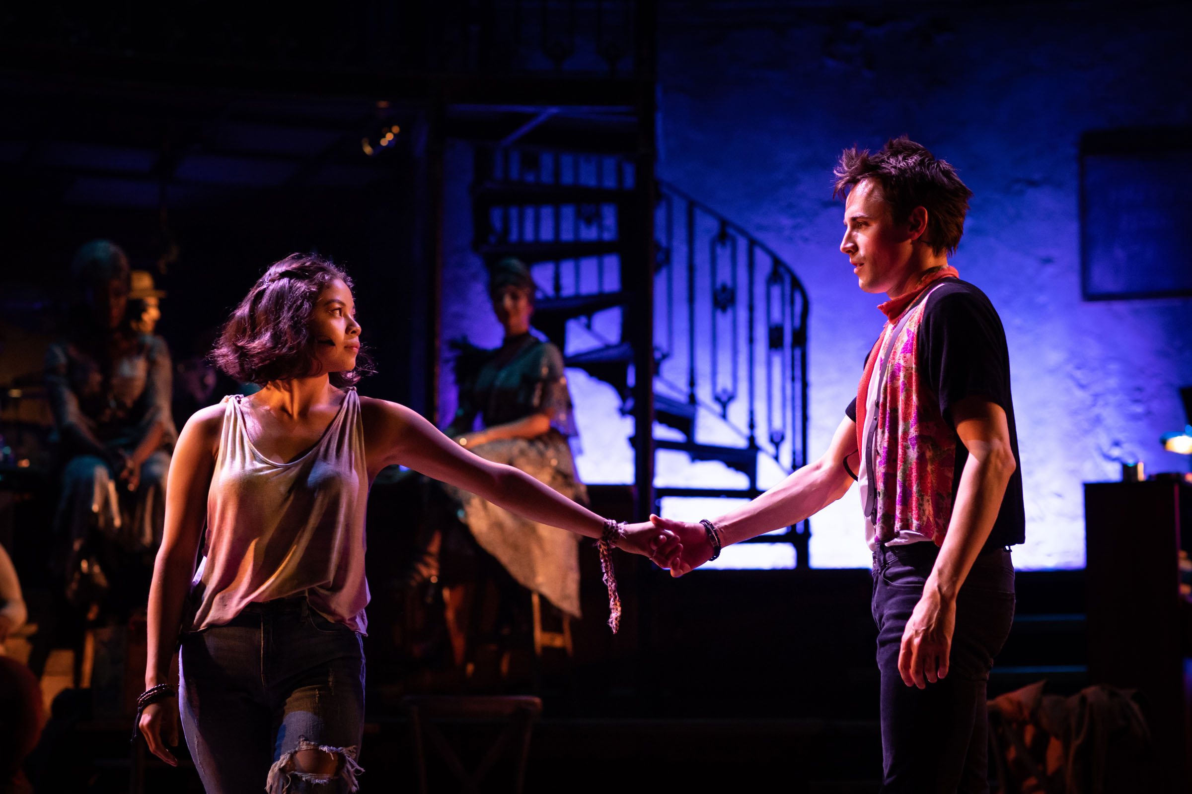 Eva Noblezada (Eurydice) and Reeve Carney (Orpheus) in Hadestown