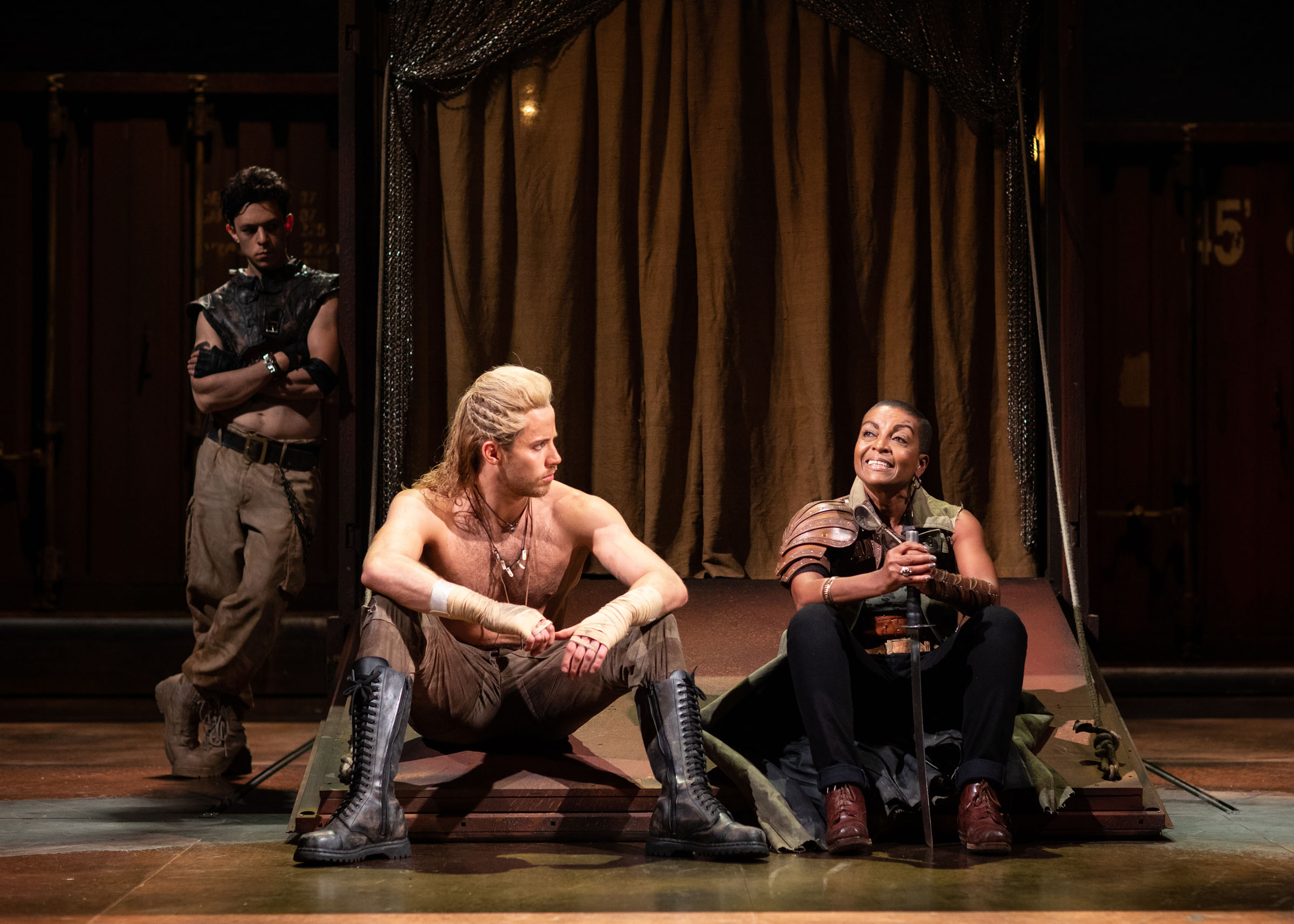 James Cooney as Patroclus, Andy Apollo as Achilles and Adjoa Andoh as Ulysses in Troilus and Cressida