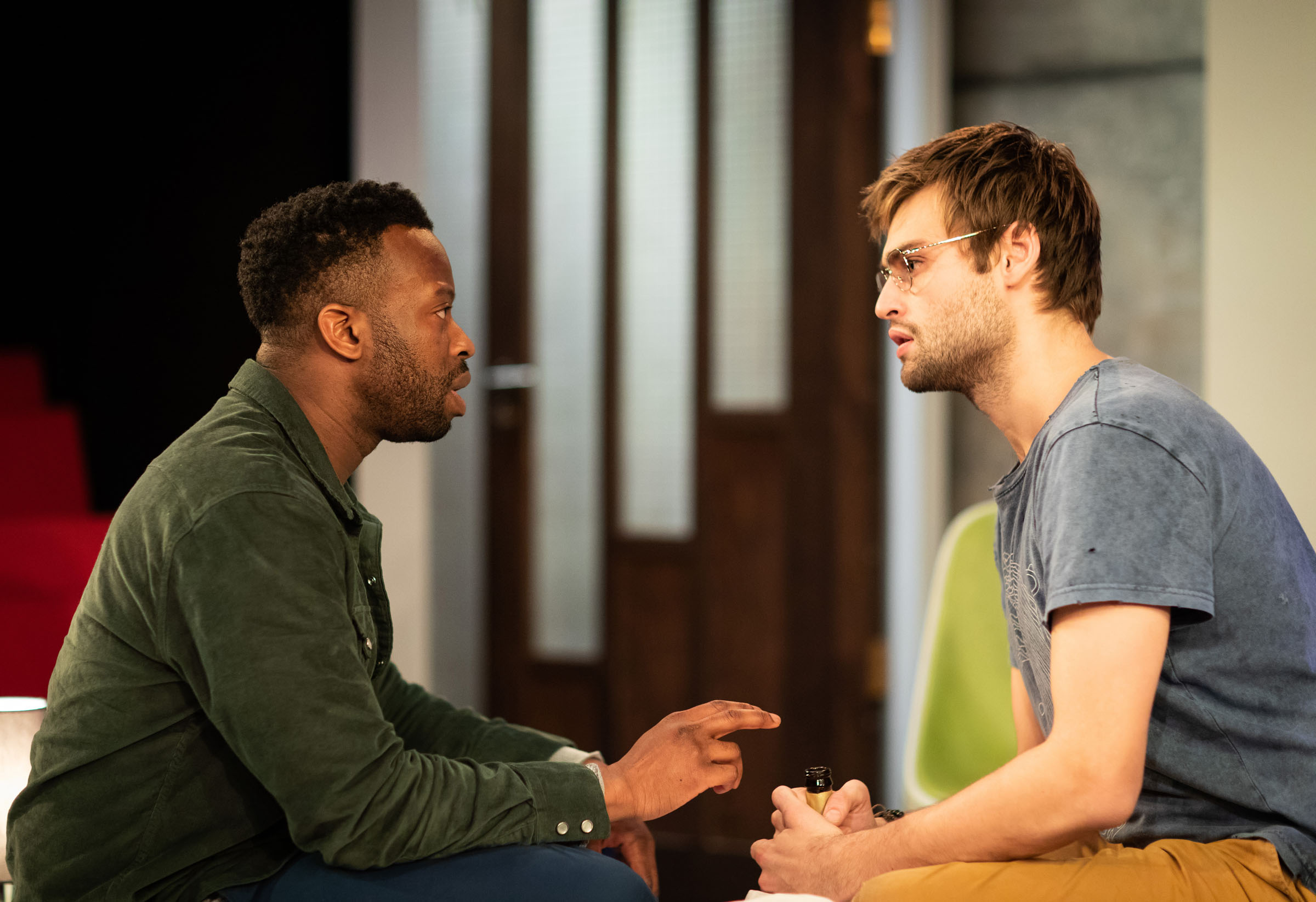 Clifford Samuel (Teddy) and Douglas Booth (Jeremy) in 'A Guide for the Homesick'