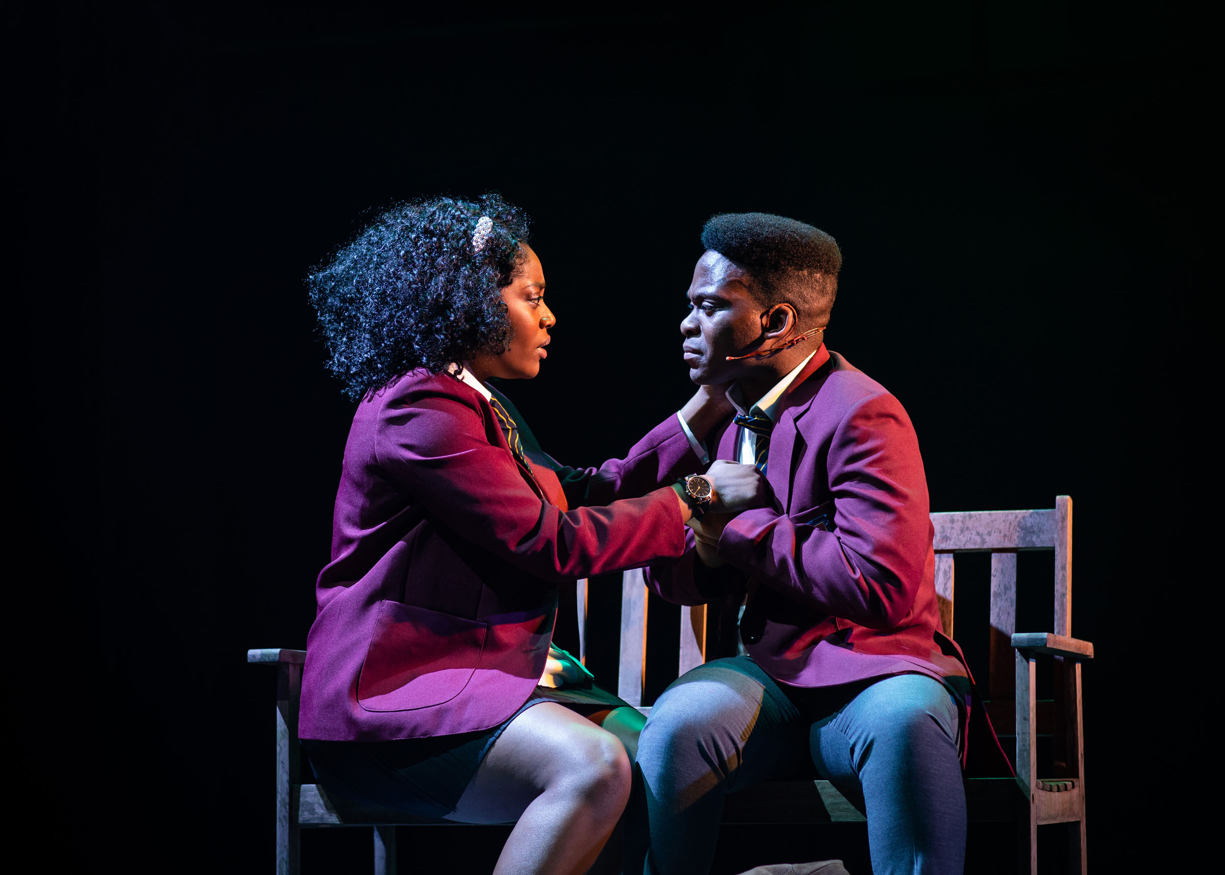 Aretha Ayeh (Chichi) and Tyrone Huntley (Obi) in 'Leave to Remain'
