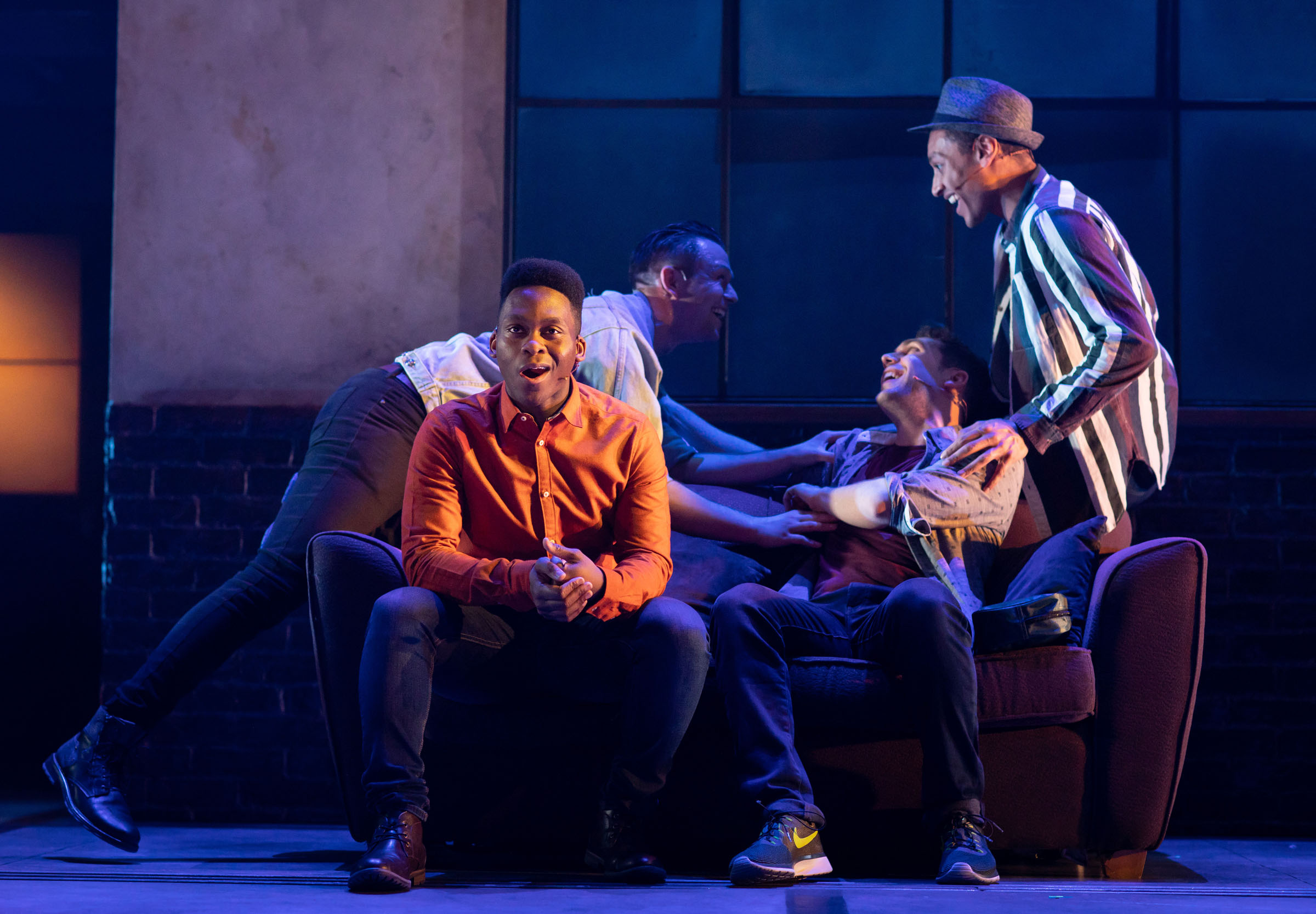 Tyrone Huntley (Obi); Sandy Batchelor (Raymond); Billy Cullum (Alex); and Arun Blair-Mangat (Damien) in 'Leave to Remain'