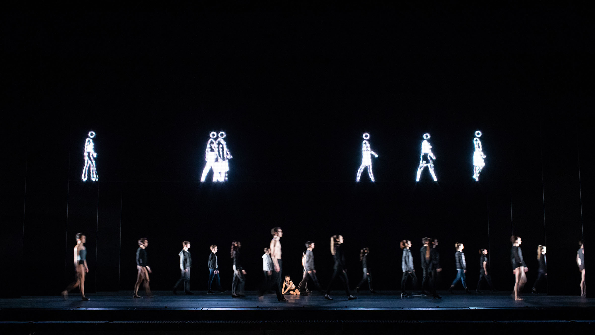 The Royal Ballet with Julian Opie's artwork in Infra