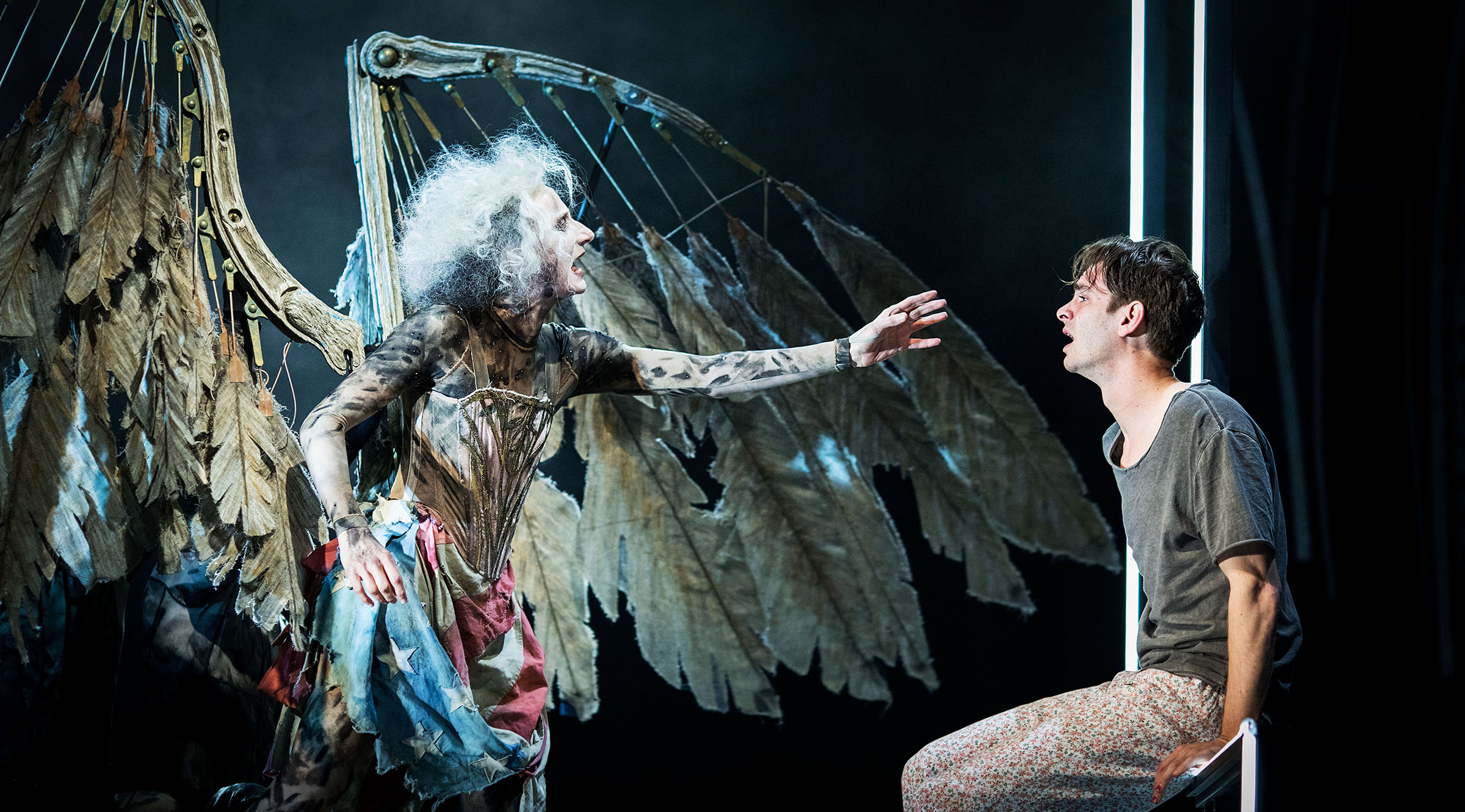 Amanda Lawrence and Andrew Garfield in 'Angels in America' at the National Theatre