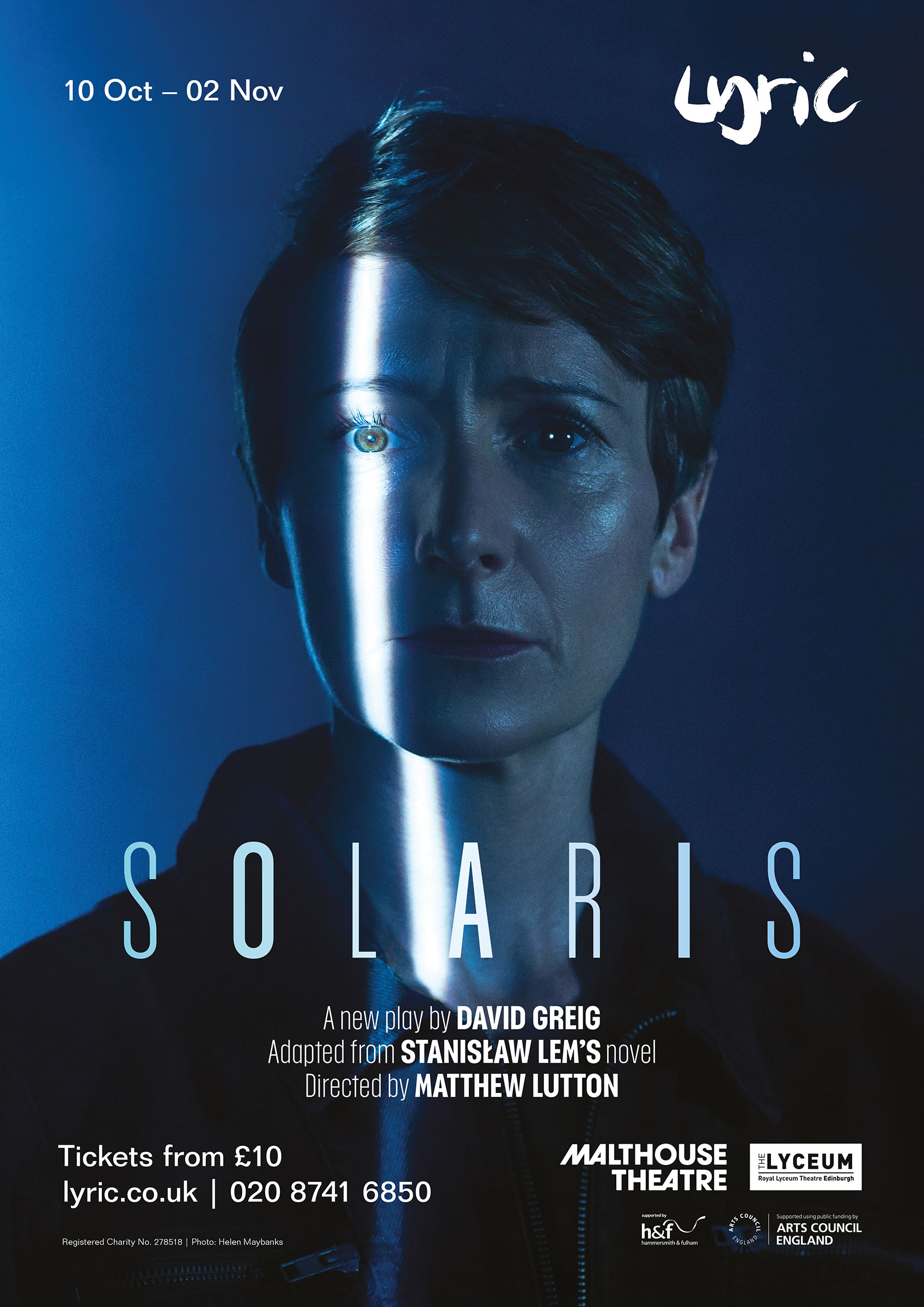 Poster for 'Solaris' at the Lyric Hammersmith. Portrait of Polly Frame by Helen Maybanks