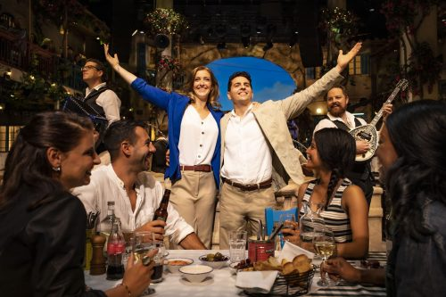 Steph Parry (Kate) and Fed Zanni (Nikos) in 'Mamma Mia! The Party'