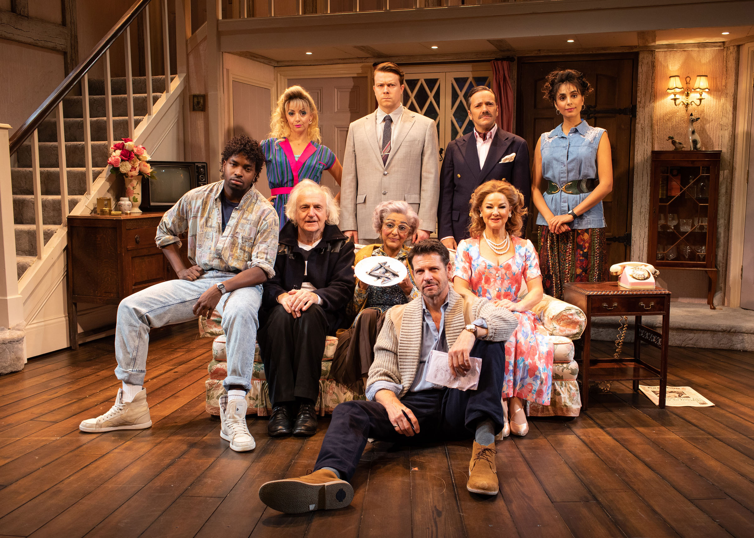 The cast of the West End run of Noises Off
