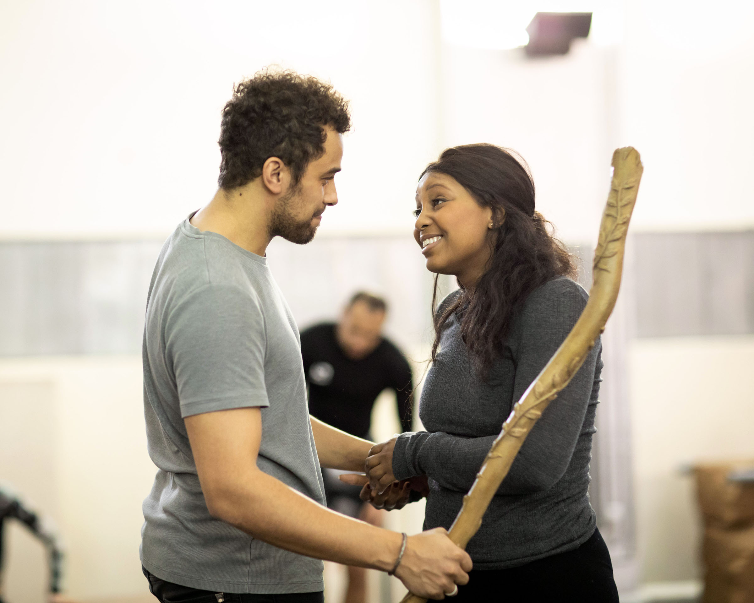 Luke Brady (Moses) and Alexia Khadime (Miriam) during rehearsals for The Prince of Egypt