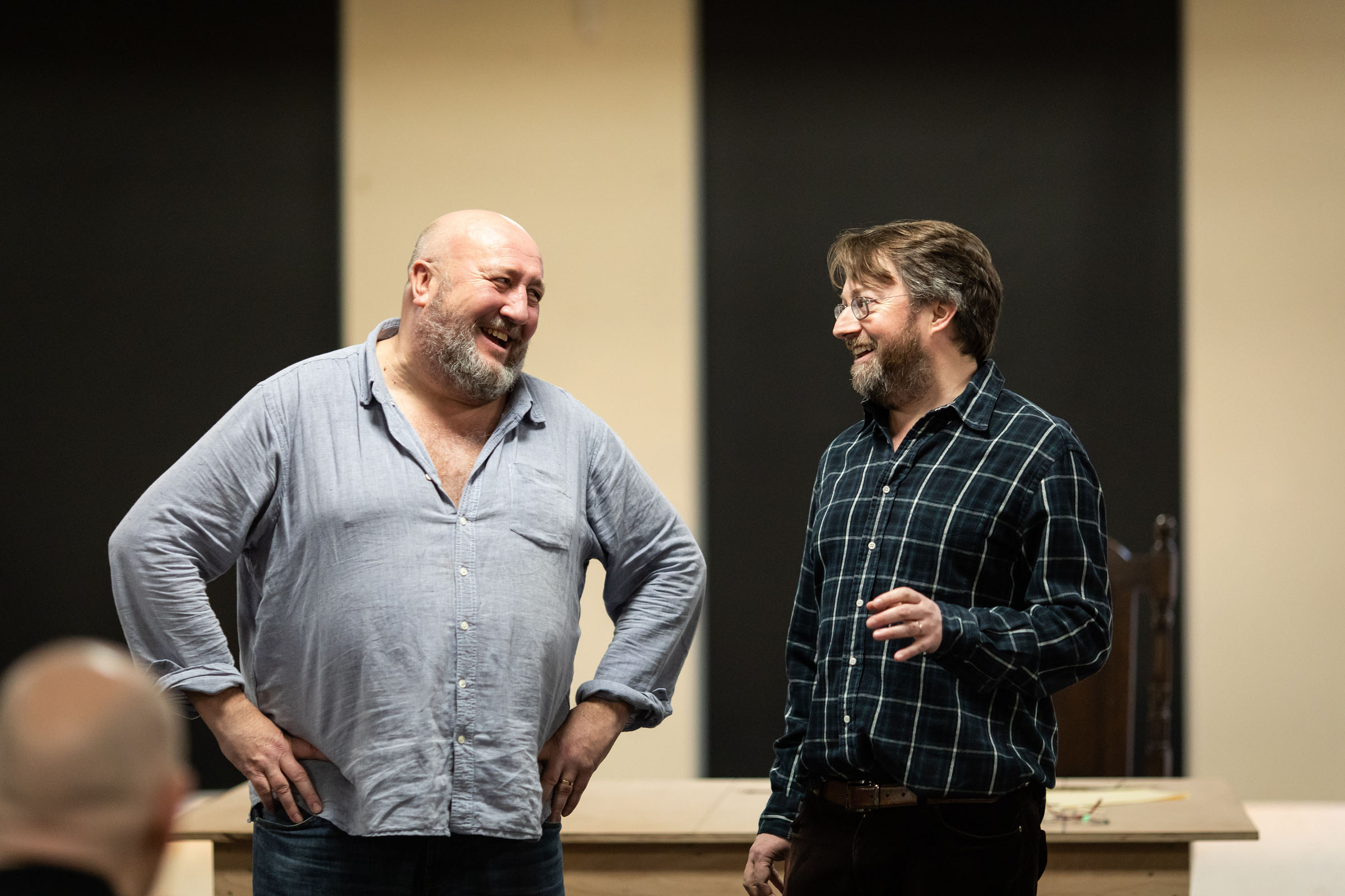 Steve Speirs (Burbage) with David Mitchell (William Shakespeare) during rehearsals for 'The Upstart Crow'