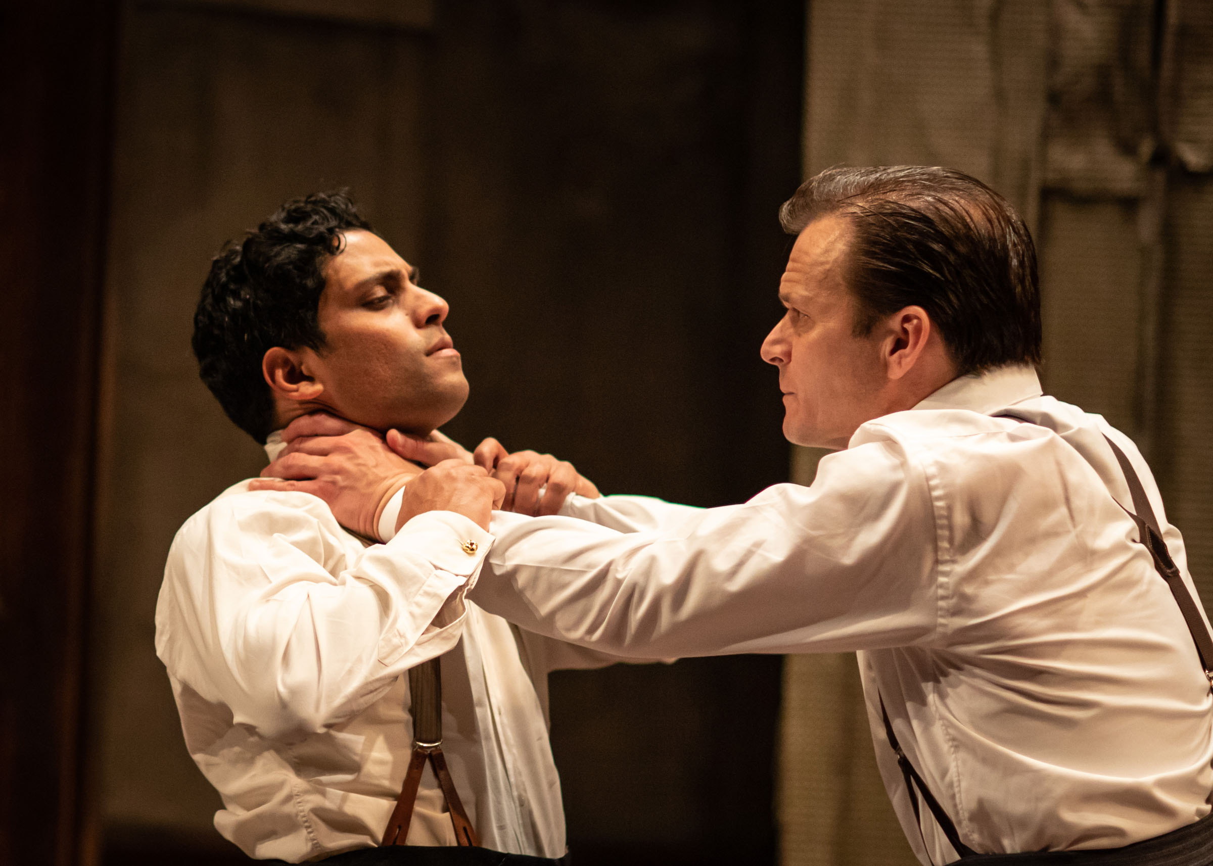 Shane Zaza (Gus) is throttled by Alec Newman (Ben) in The Dumb Waiter