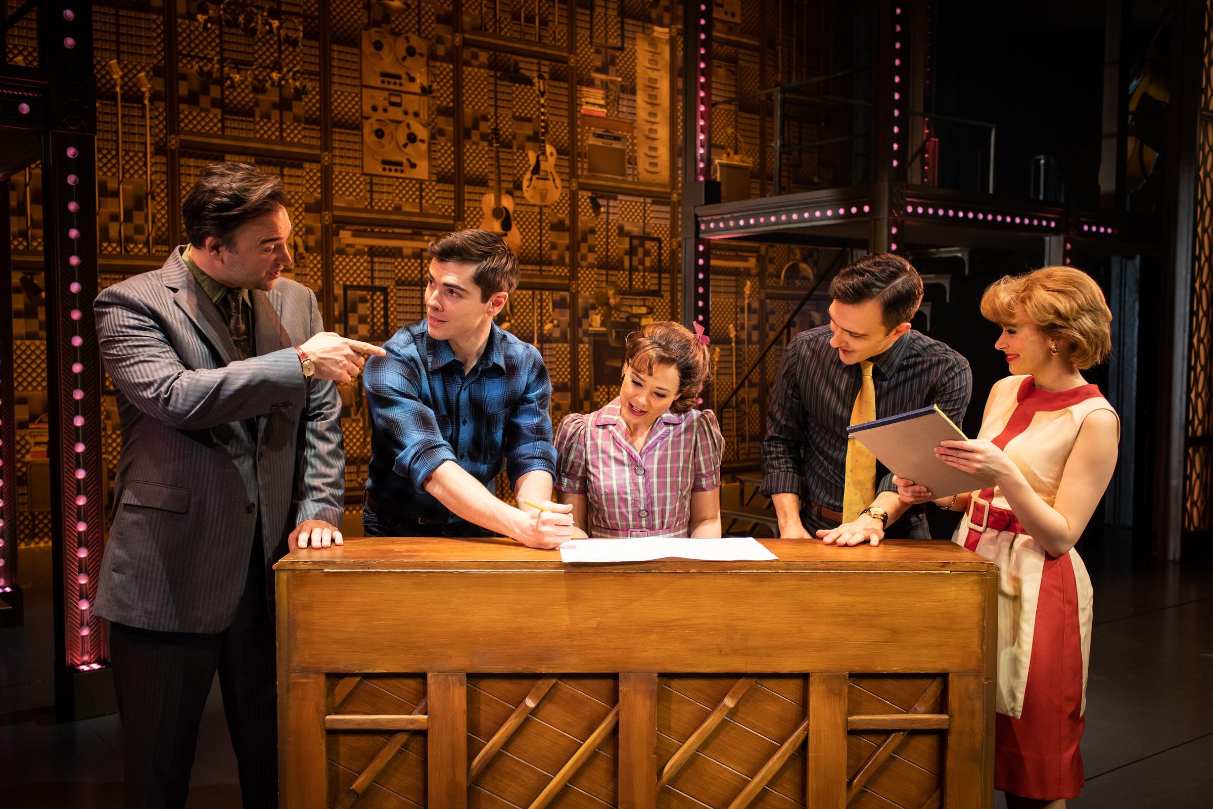 Oliver Boot as Donnie Kirshner; Adam Gillian as Gerry Goffin; Daisy Wood-Davis as Carole King; Cameron Sharp as Barry Mann; Laura Baldwin as Cynthia Well