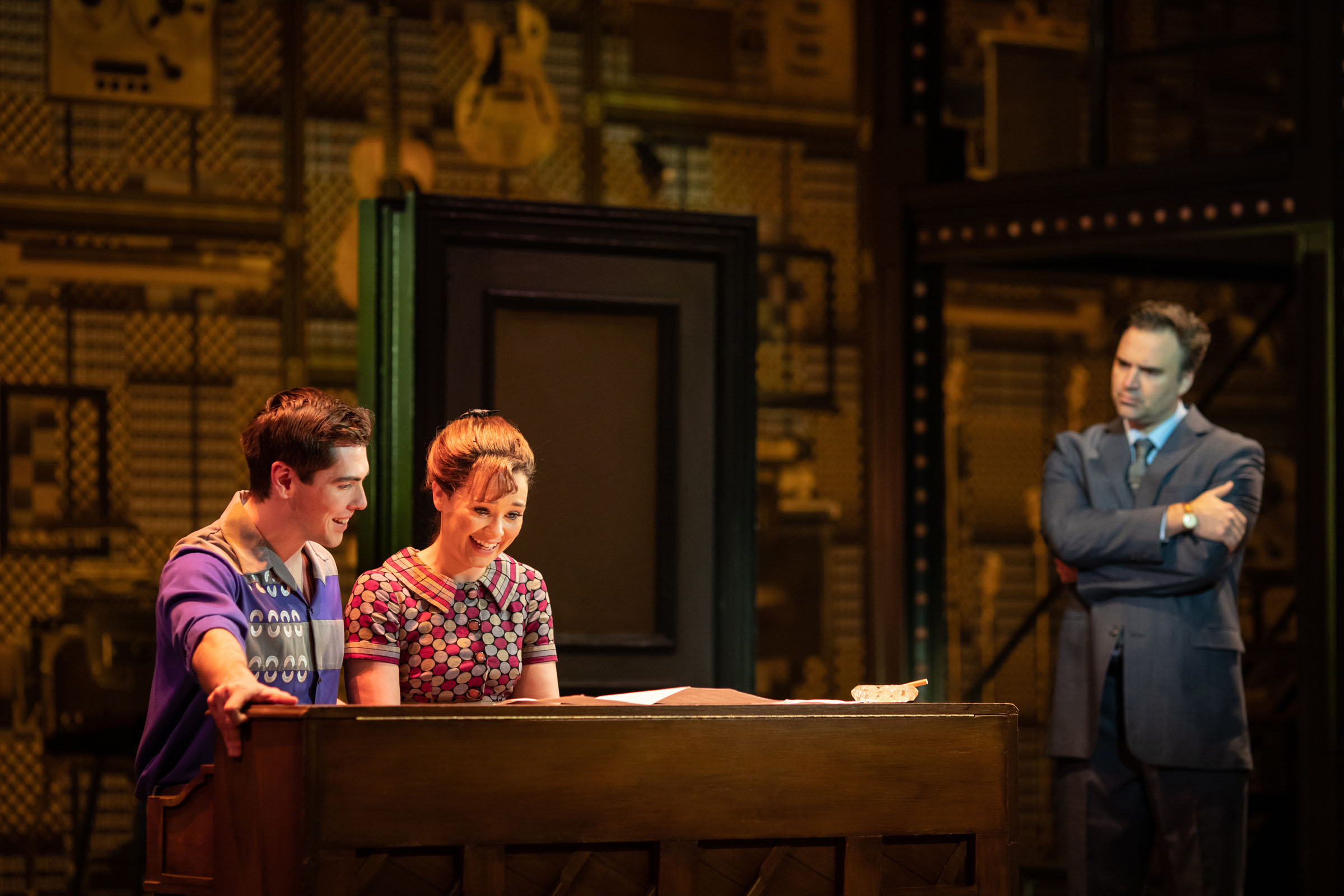 Adam Gillian as Gerry Goffin, Daisy Wood-Davis as Carole King and Oliver Boot as Donnie Kirshner in 'Beautiful - The Carole King Musical'
