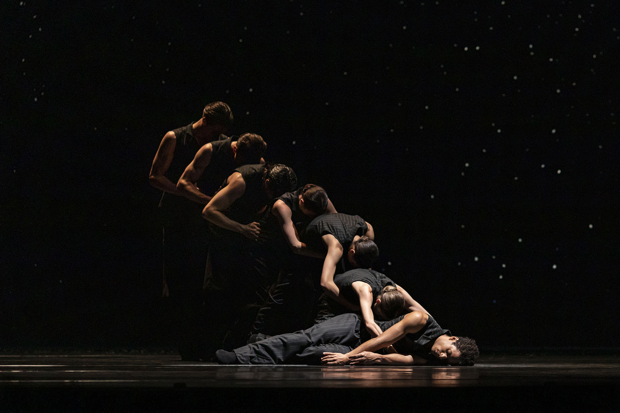 Marcelino Sambe and the cast in 'Solo Echo', part of '21st Century Choreographers' at The Royal Opera House