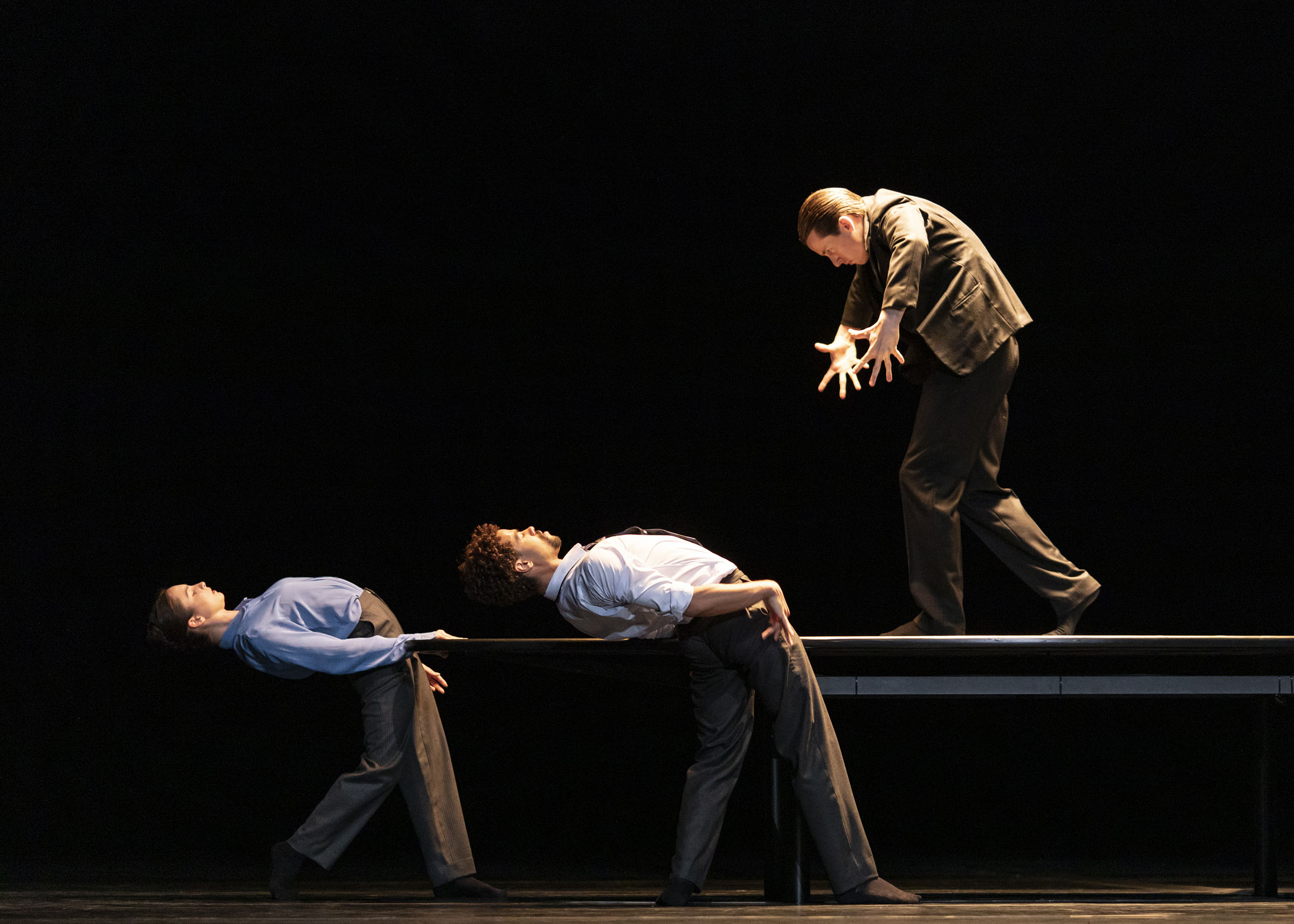 Ashley Dean, Joseph Sissens and Calvin Richardson in 'The Statement', by the Royal Ballet