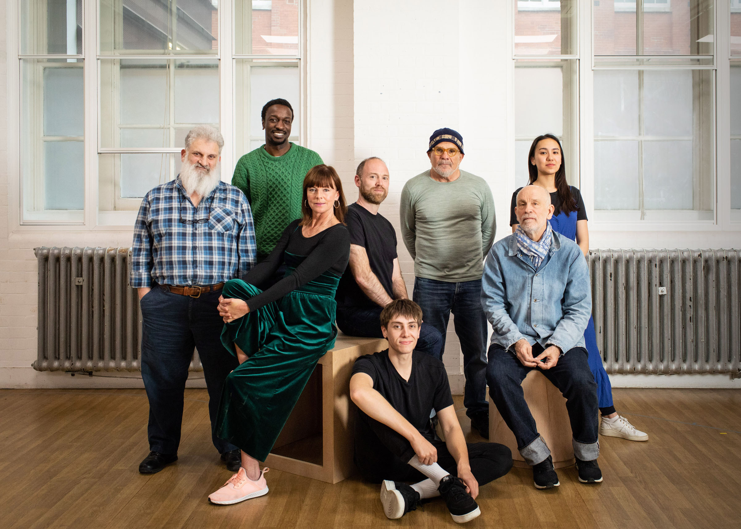 A portrait of the cast of Bitter Wheat taken during rehearsals in London
