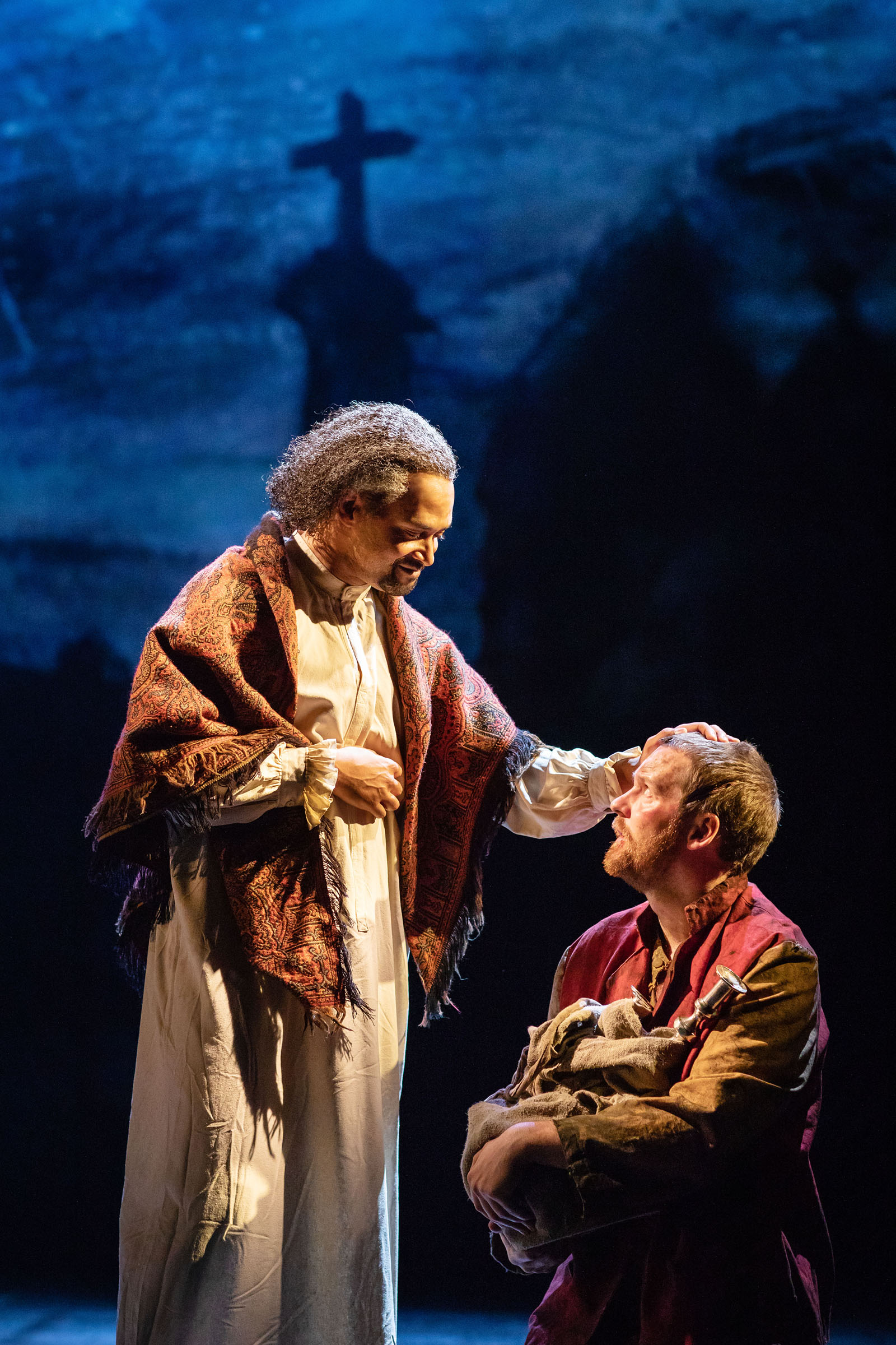 Brian James Leys as Bishop of Digne and Killian Donnelly as 'Jean Valjean'