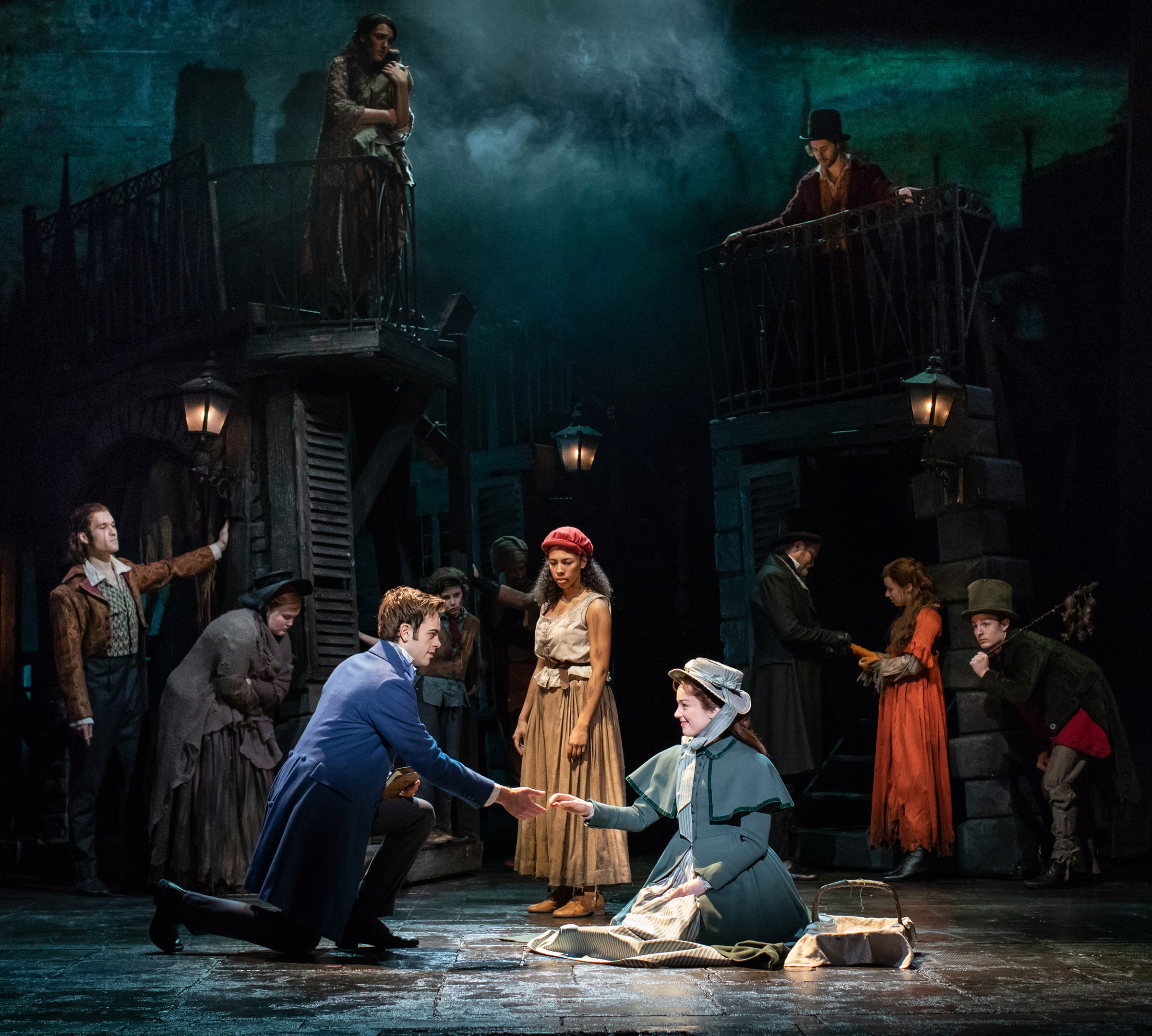Harry Apps as Marius, Tegan Bannister as Eponine and Bronwen Hanson as Cosette.
