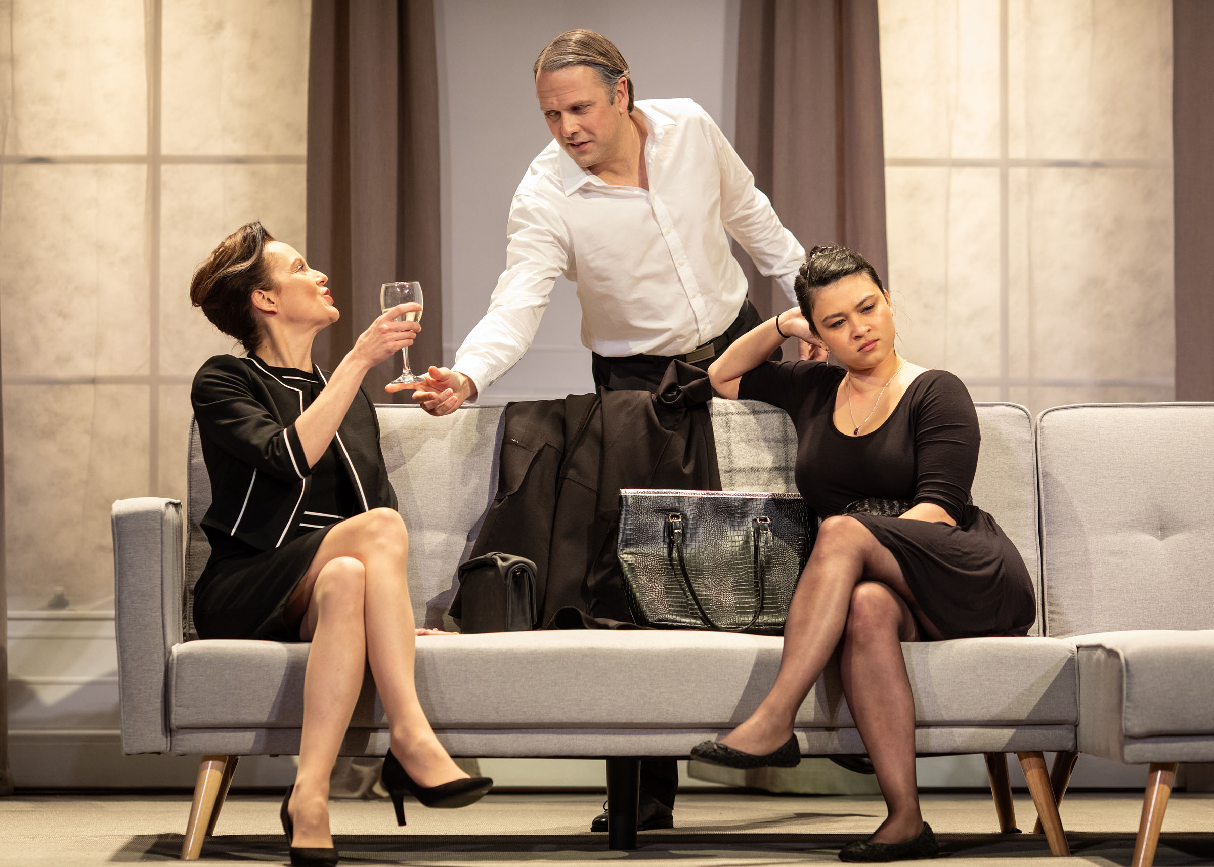Rachael Stirling, Nicholas Burns and Isabella Laughland in Love Love Love at the Lyric hammersmith
